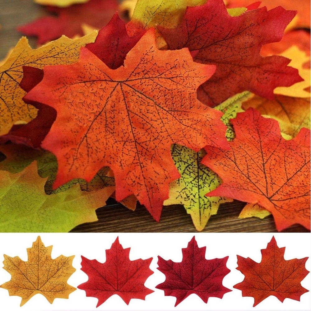 100 pcs fall maple leaves silk flower petals wedding party for Autumn leaf decoration