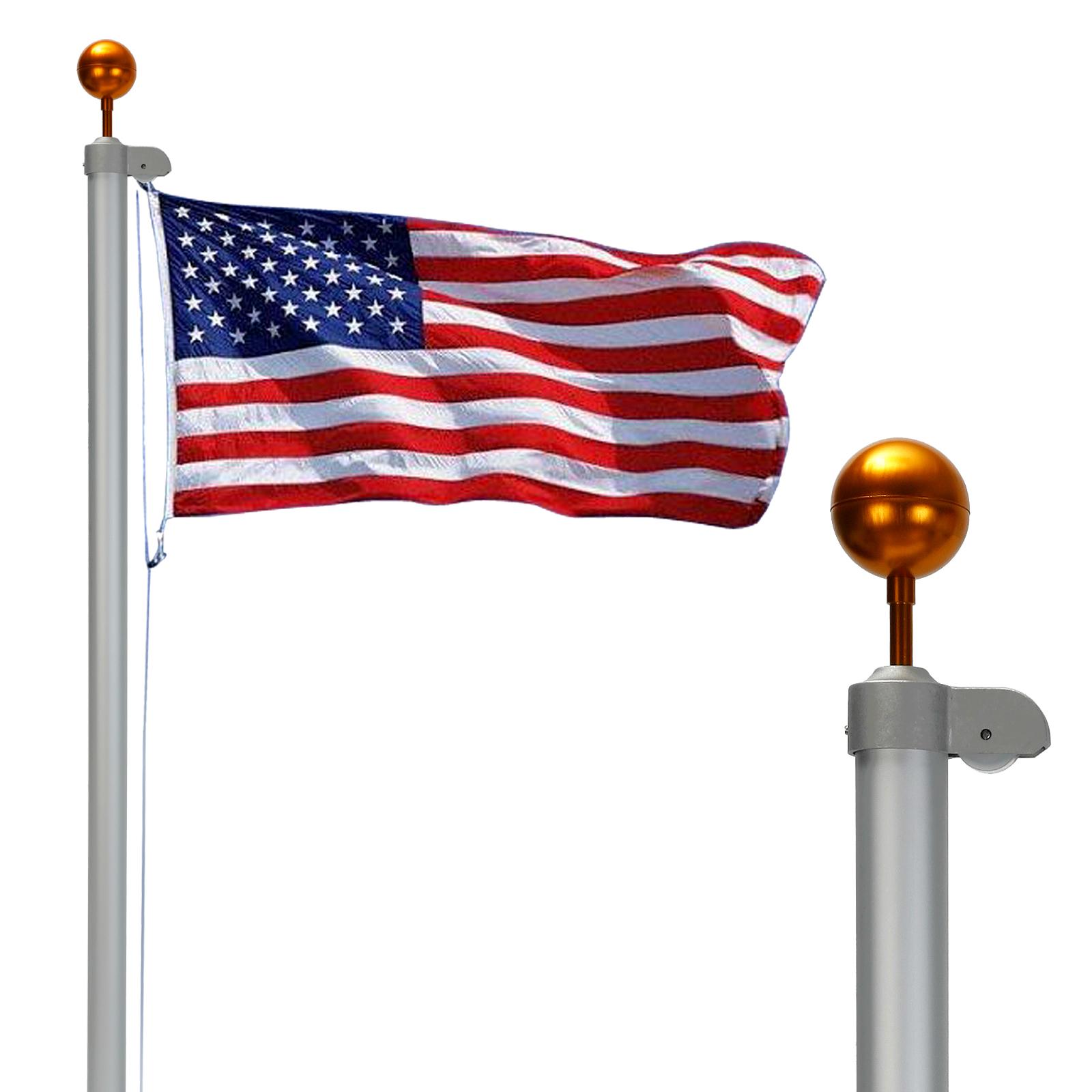 25ft Aluminum Sectional Flagpole Kit 1 Pc 3 39 X5 39 Us Flag