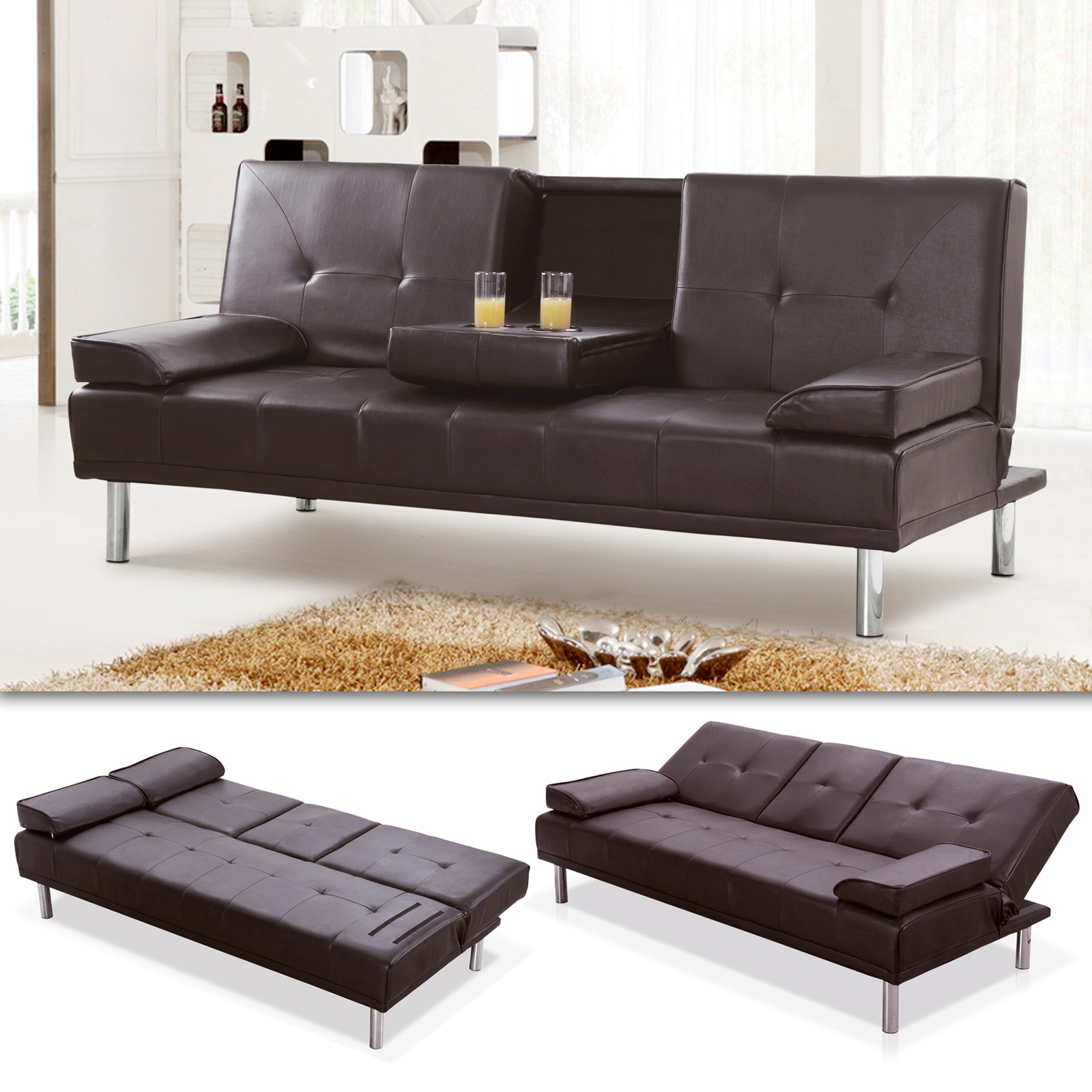 schlafsofa braun kunstleder mit getr nkehalter modernen luxus stil ebay. Black Bedroom Furniture Sets. Home Design Ideas