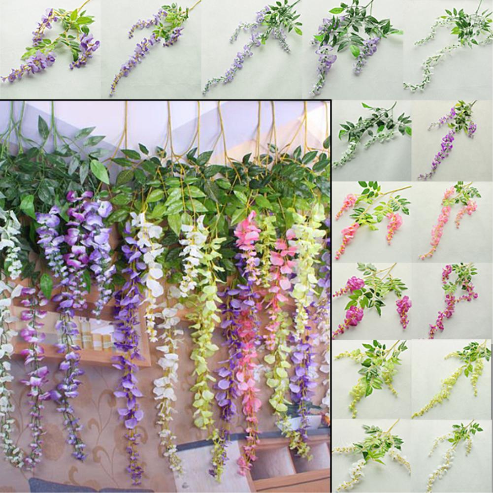 long string artificial silk wisteria flower vine hanging garland wedding decor ebay. Black Bedroom Furniture Sets. Home Design Ideas
