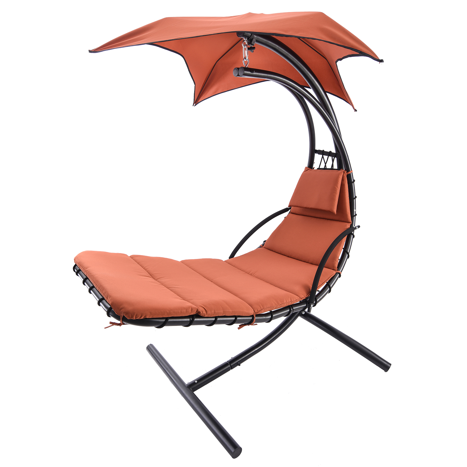 hanging steel chaise lounger chair arc stand swing hammock. Black Bedroom Furniture Sets. Home Design Ideas