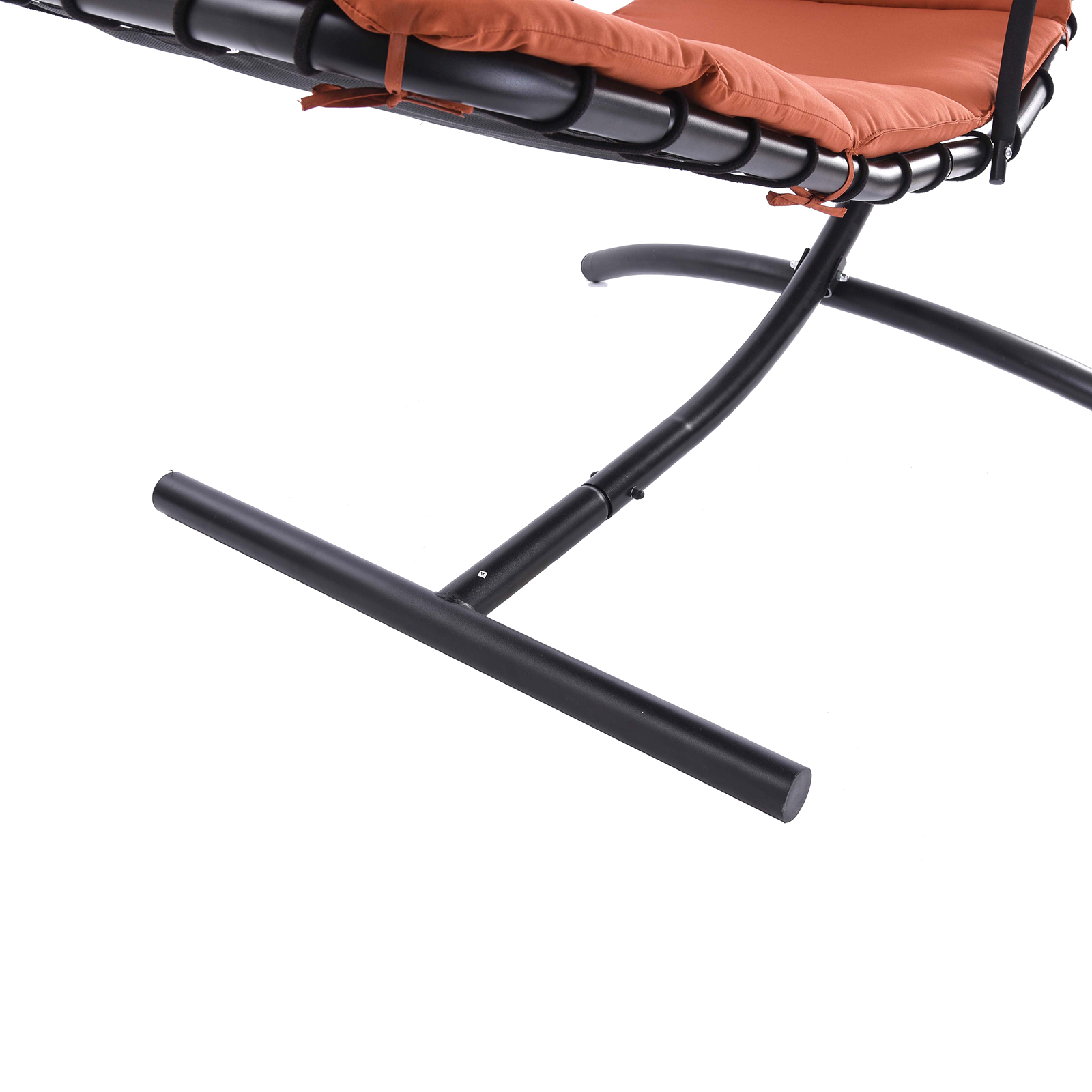Hanging Steel Chaise Lounger Chair Arc Stand Swing Hammock Canopy Orange