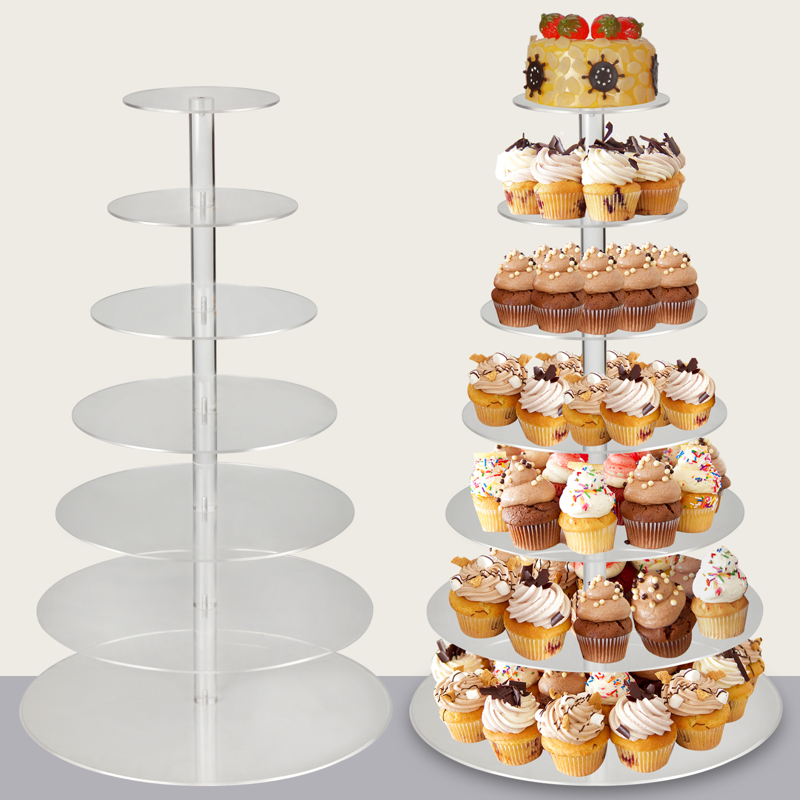 Cupcake Stands For Weddings: 7-Tier Clear Acrylic Round Cupcake Birthday Wedding Cake