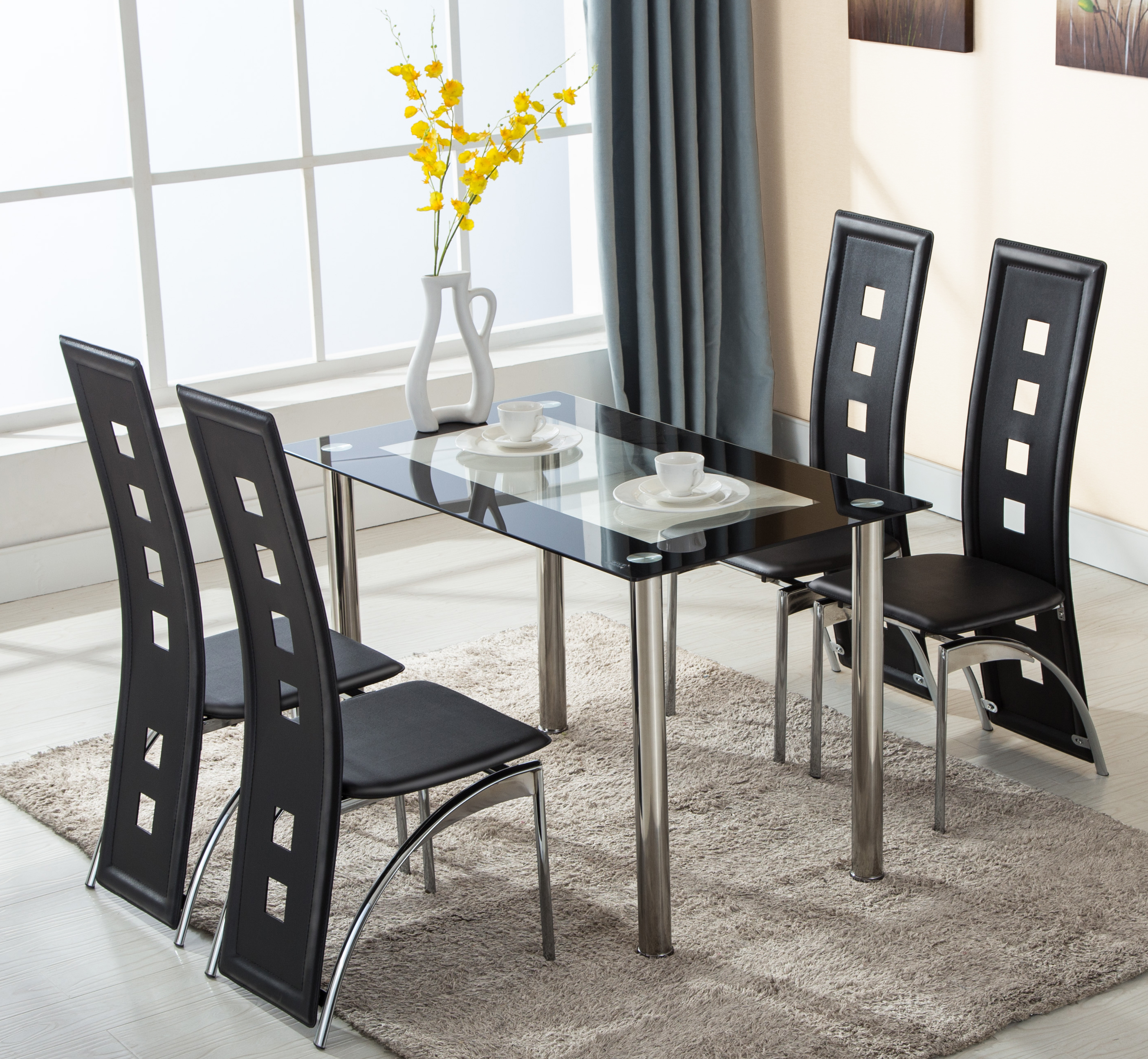 Glass Dining Table Set 4 Chairs 5 Piece 4 Leather Chairs Glass Dining Table Set Kitchen Room