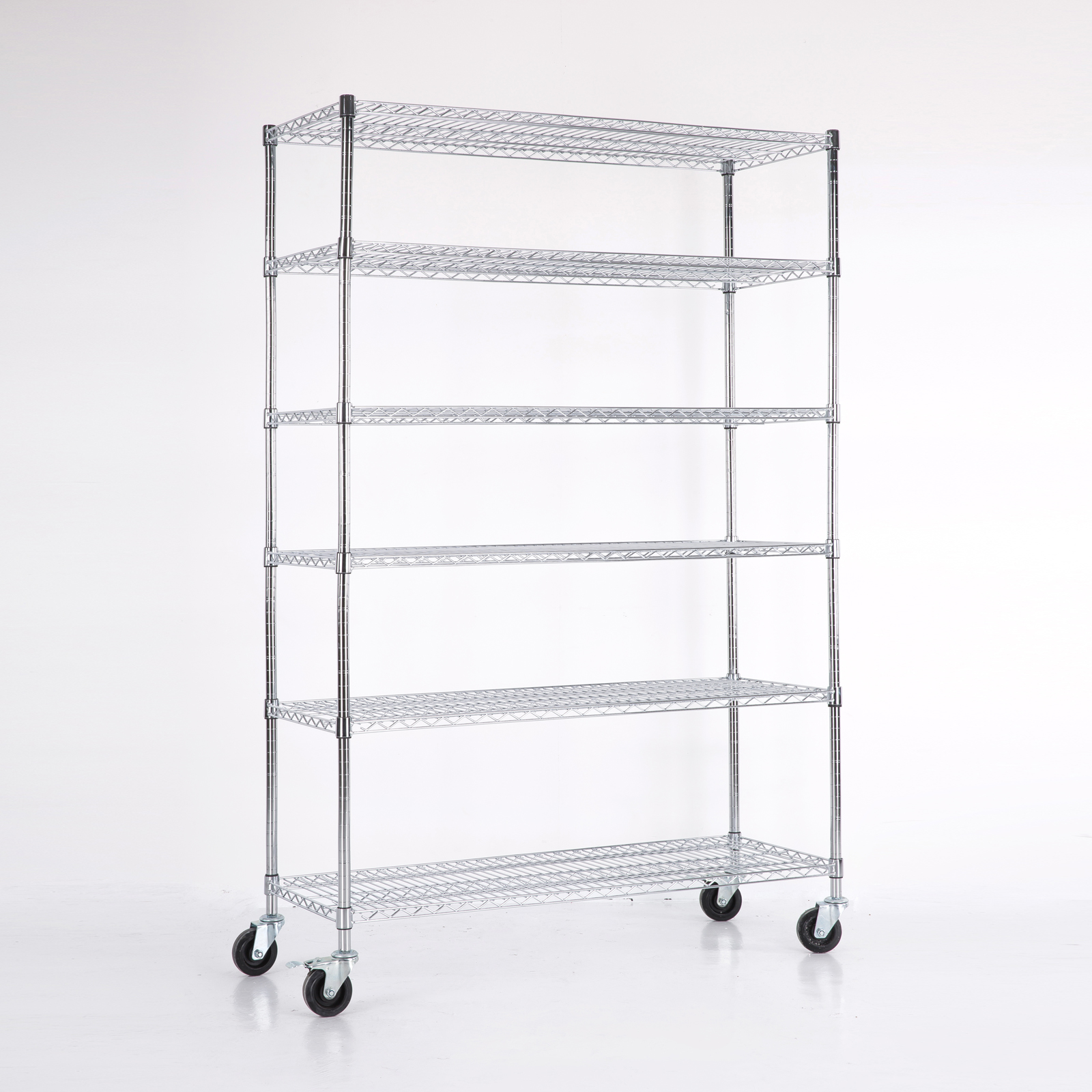 6 tier layer shelf steel wire metal shelving rack chrome. Black Bedroom Furniture Sets. Home Design Ideas