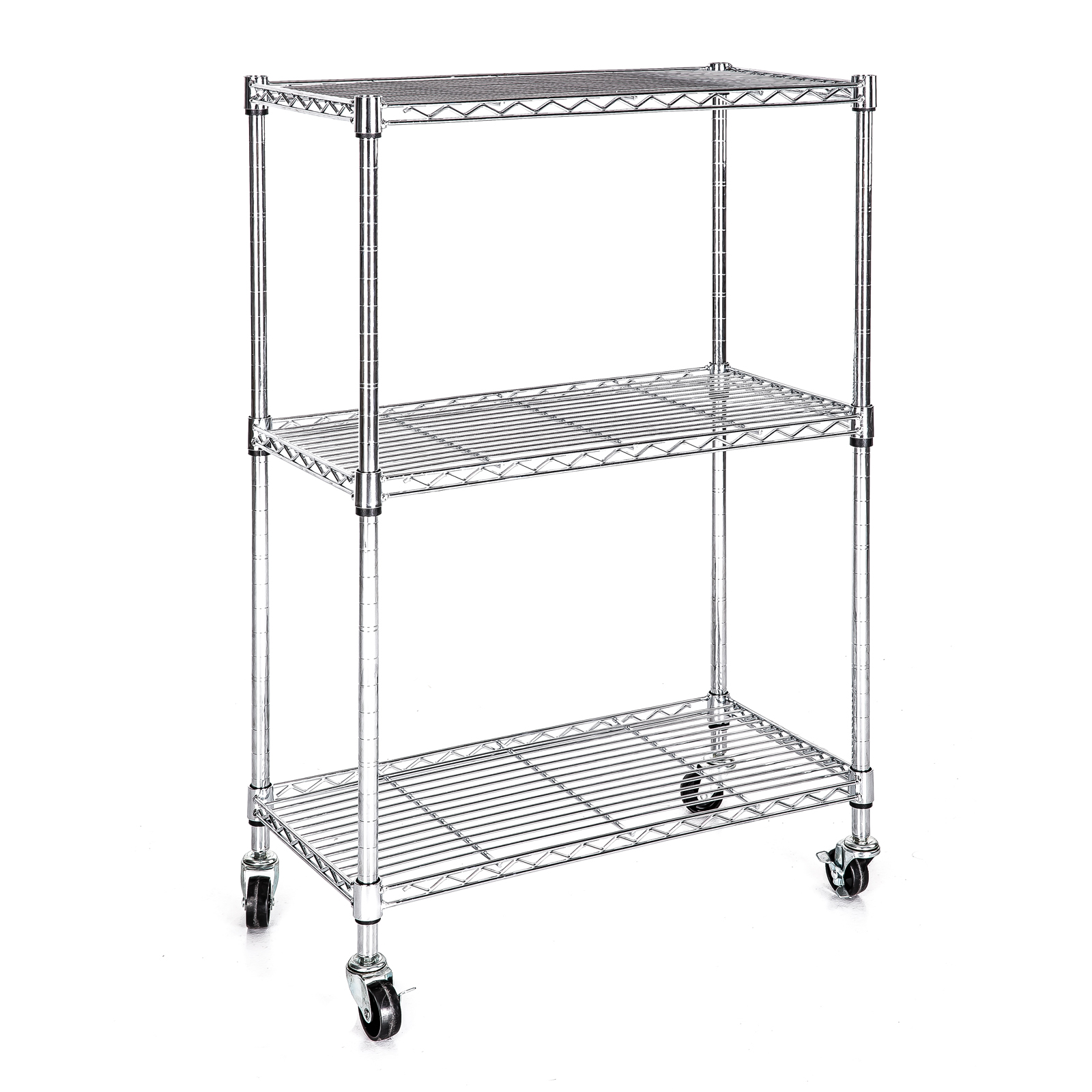 heavy duty chrome 3 tier wire shelving rack cart unit w. Black Bedroom Furniture Sets. Home Design Ideas