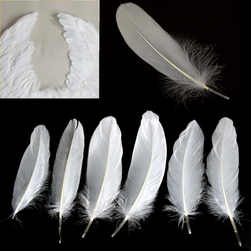 New natural large goose white feathers jewelry craft for Natural feathers for crafts
