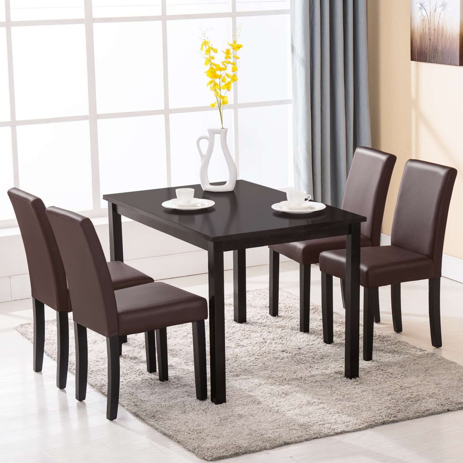 5 piece wood dining table set 4 chairs dinette room for 3 piece dining room table