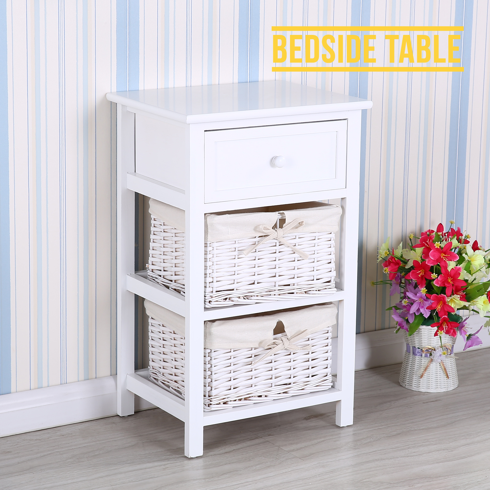 shabby wicker storage wood bedside table unit wooden cabinet w 3 drawer ebay. Black Bedroom Furniture Sets. Home Design Ideas