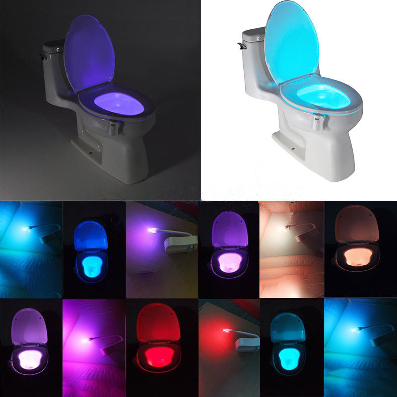 1pc bathroom motion activated cordless toilet seat led for Bathroom night light