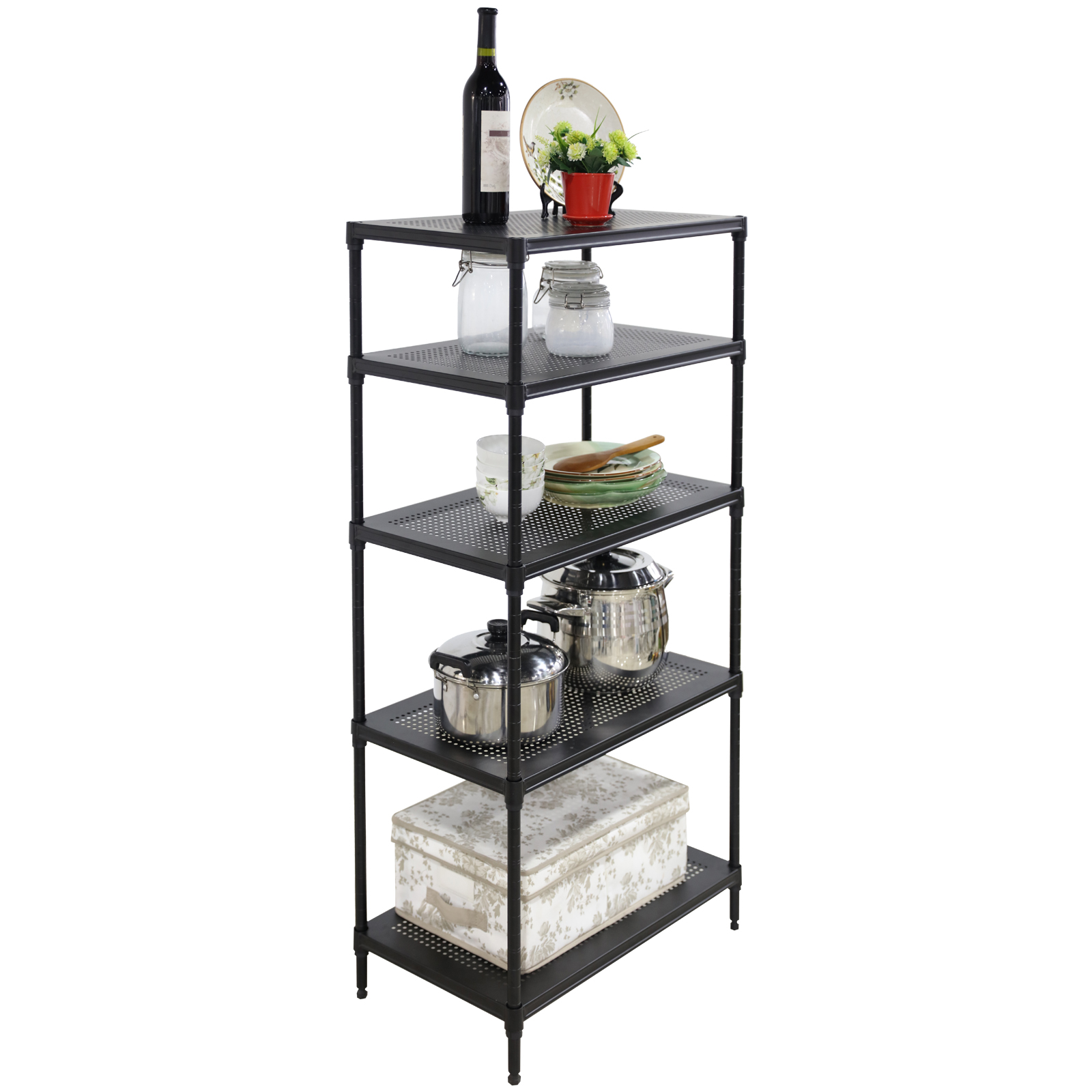 24x14x48 steel shelf storage adjustable 5 tier wire. Black Bedroom Furniture Sets. Home Design Ideas
