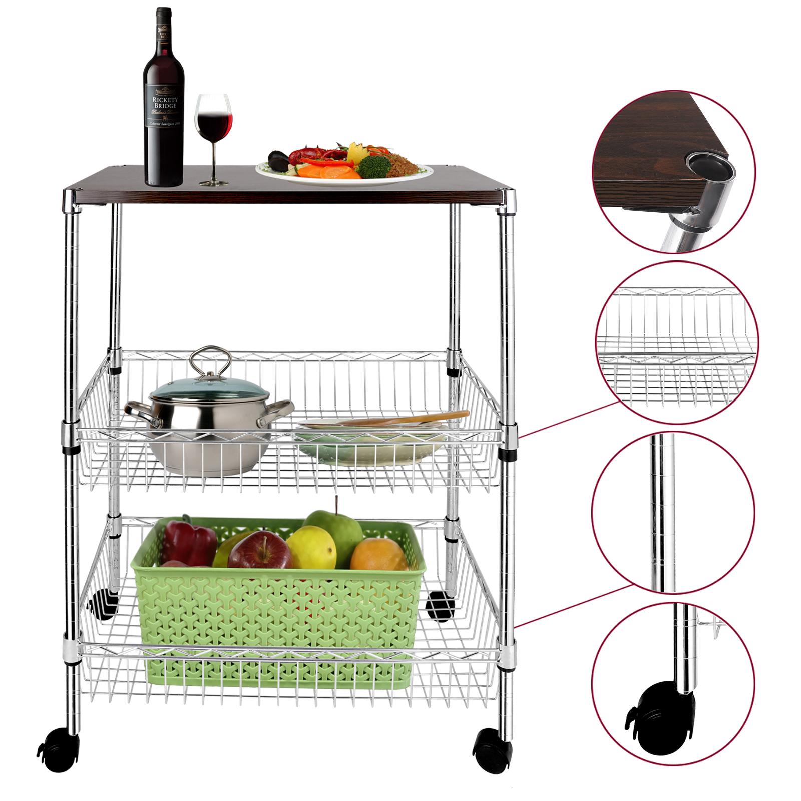 3 Tier Wire Shelving Rack Rolling Kitchen Cart Trolley W