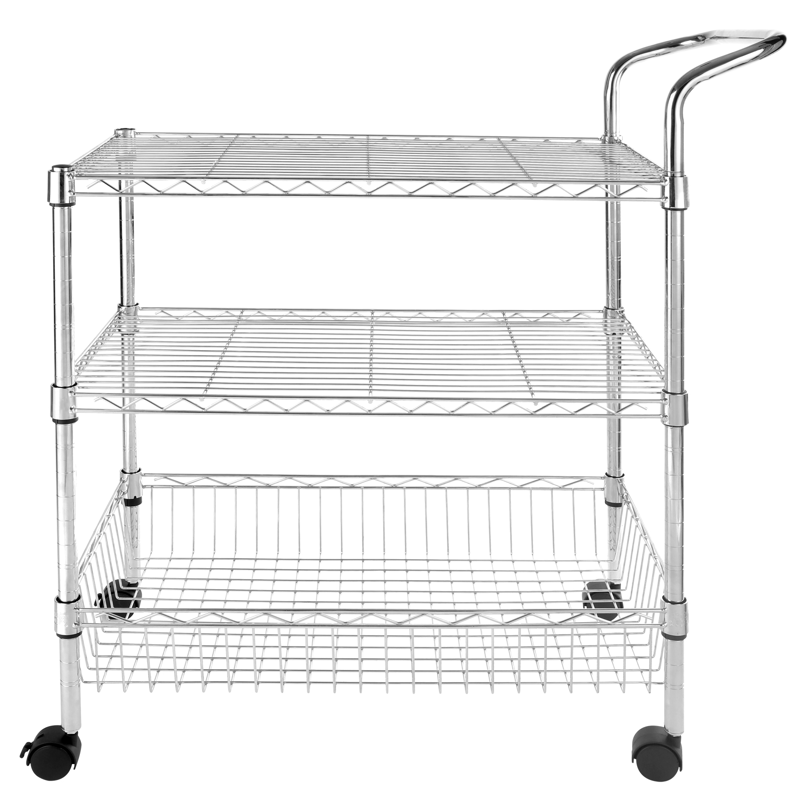 3 tier wire rolling kitchen utility cart trolley rack food service whandle. beautiful ideas. Home Design Ideas