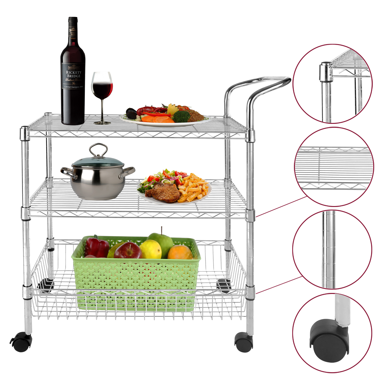 3 Tier Wire Rolling Kitchen Utility Cart Trolley Rack Food Service W/handle