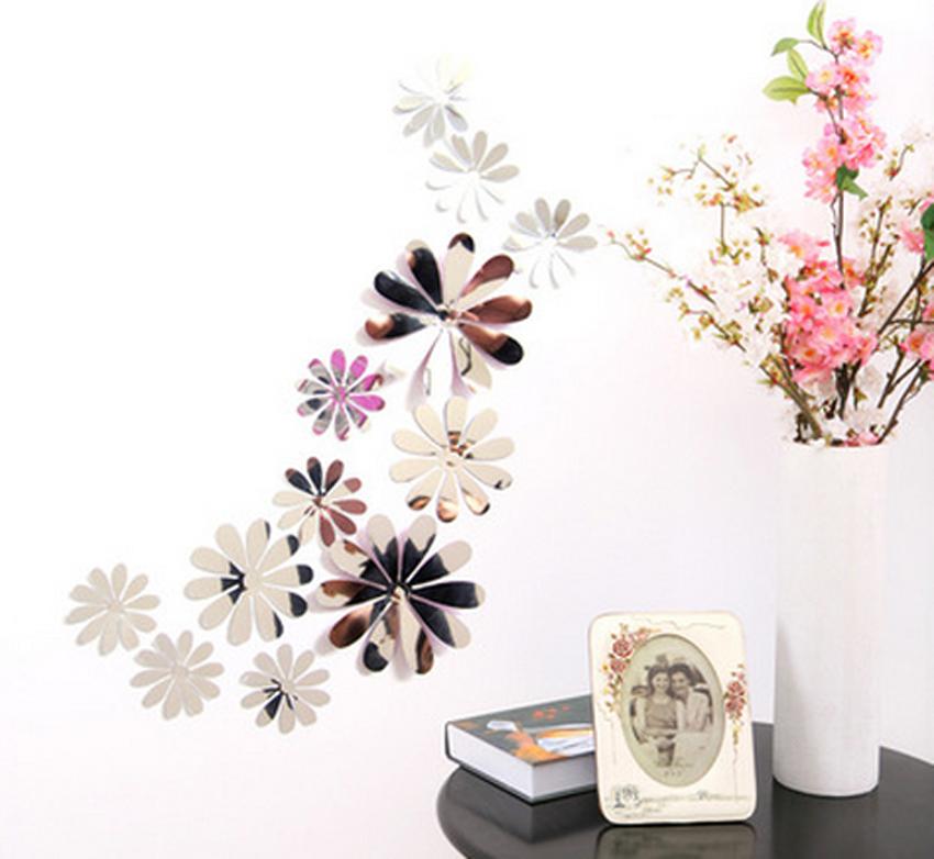 12Pc Artificial 3D Mirror Effect Flower Wall Sticker Room Decal Home Decor  HOT K Part 78