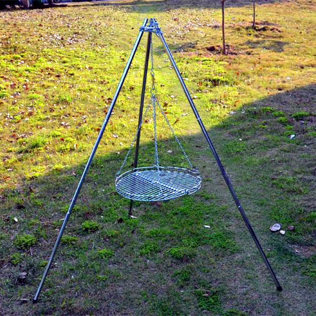 Portable stainless steel tripod tri pod cooking camp