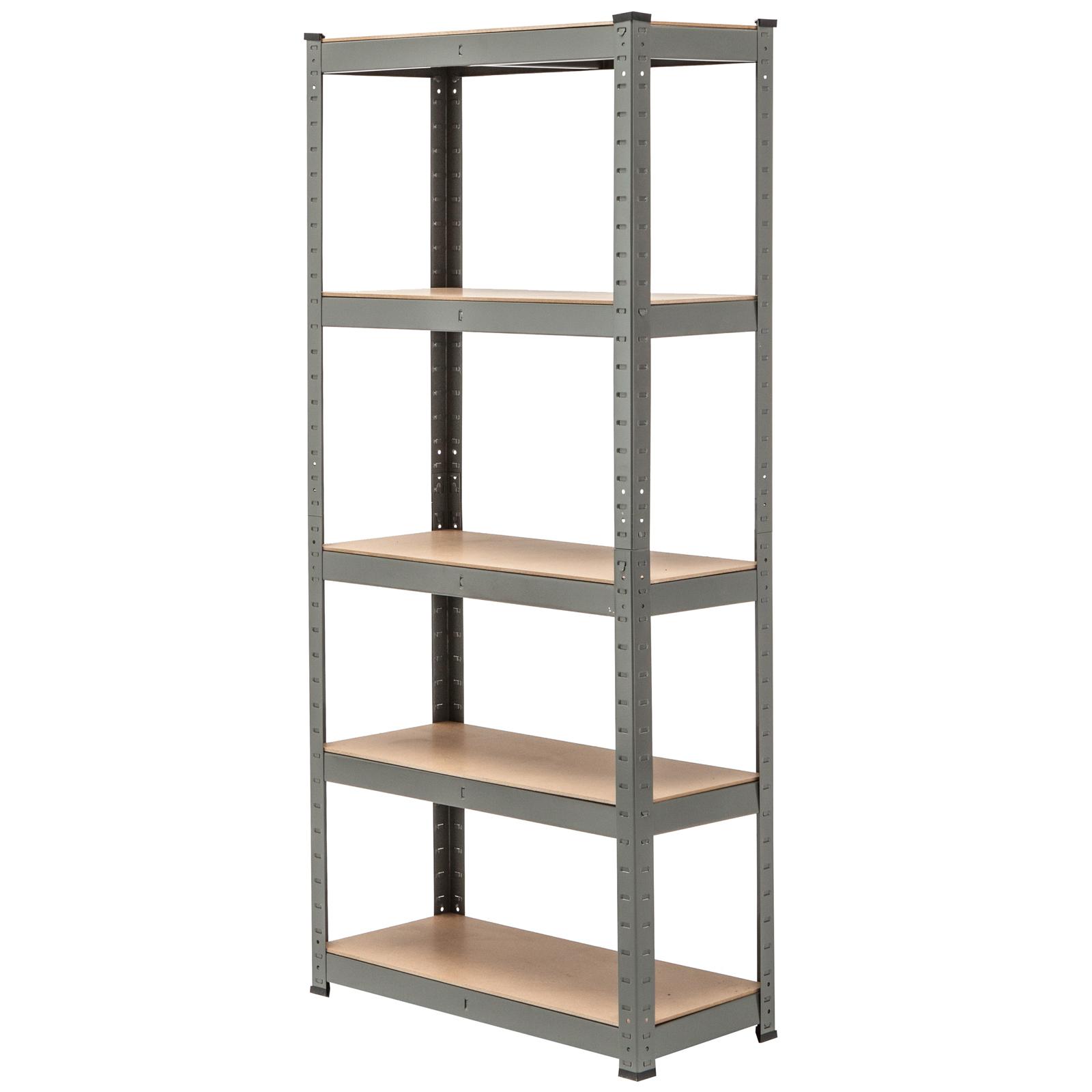 5 tier heavy duty boltless metal grey shelving storage. Black Bedroom Furniture Sets. Home Design Ideas
