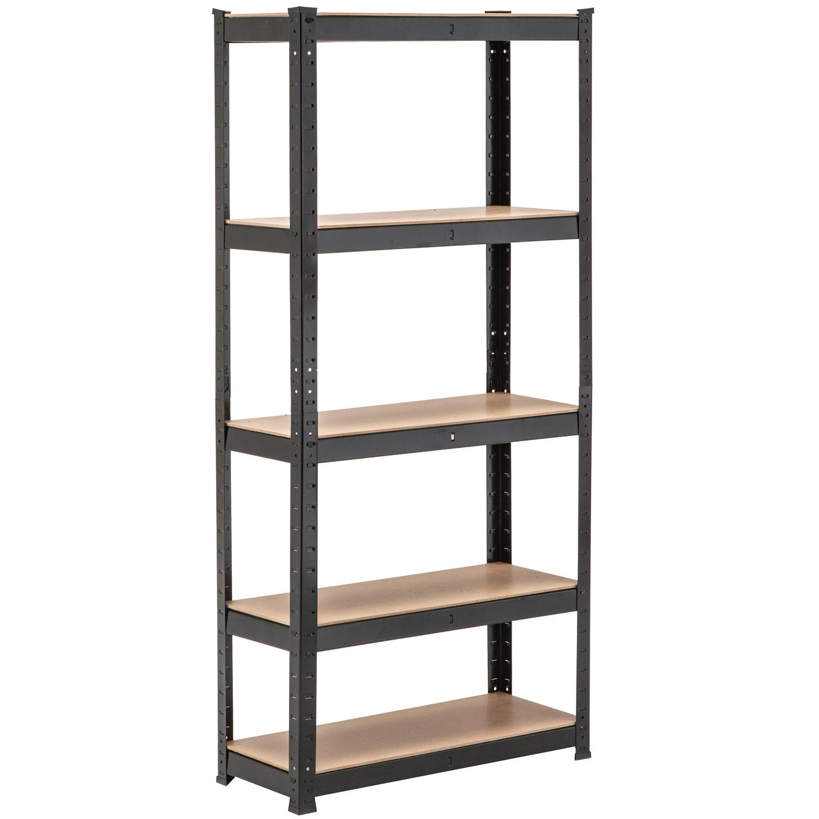 5 tier heavy duty boltless metal black shelving storage. Black Bedroom Furniture Sets. Home Design Ideas
