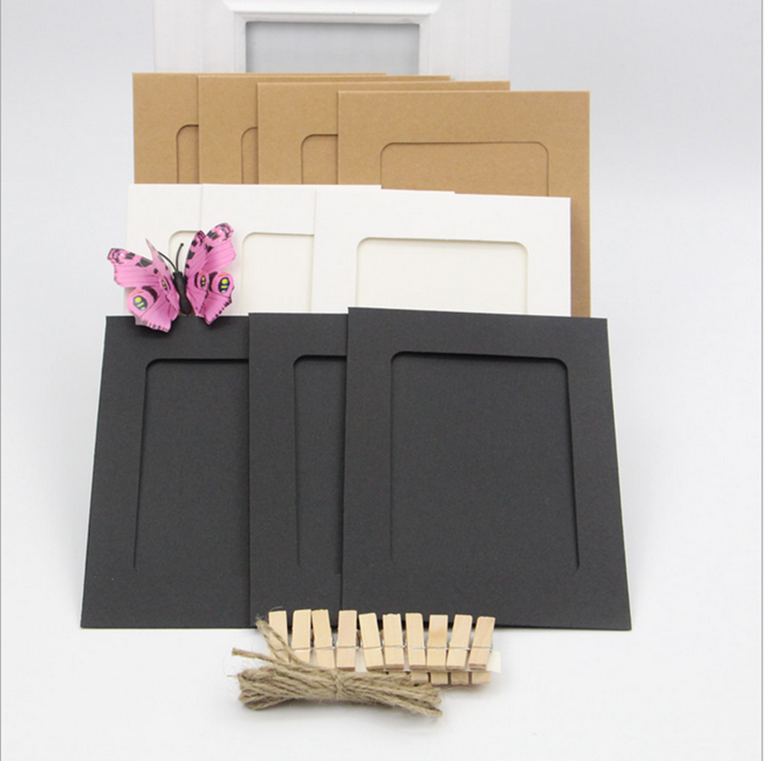 10pcs home wall hanging kraft paper 6inch photo picture for Photo clip wall frame
