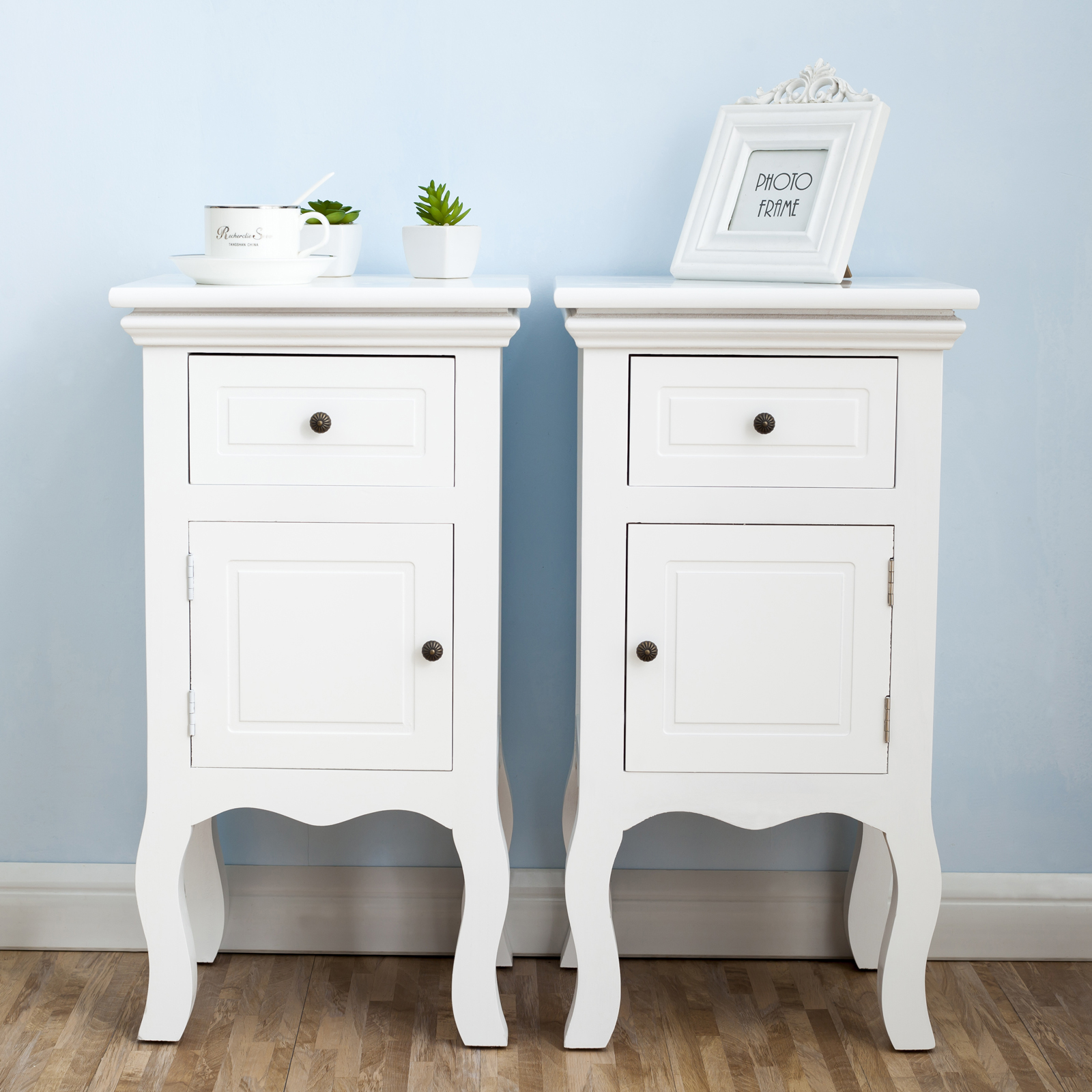 White pair of bedside table unit wooden cabinet 2 drawers - Petite table de nuit ...