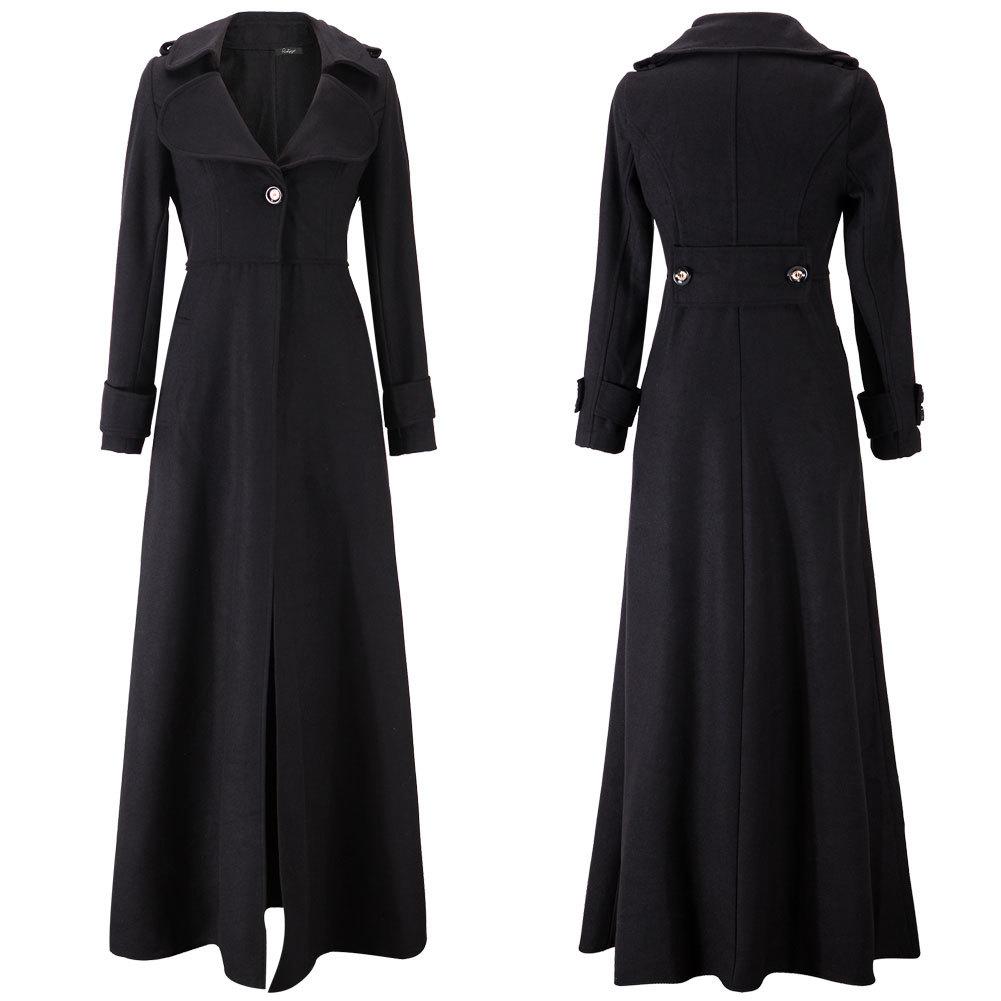 New-Women-039-s-Full-Length-Wool-Blend- - New Women's Full Length Wool Blend Jacket Slim Trench Parka