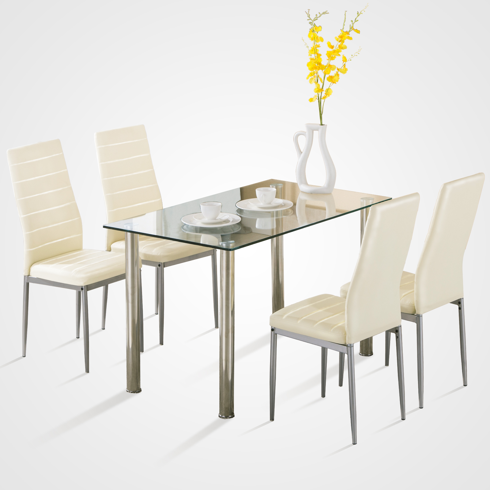 5 piece dining table set w 4 chairs glass metal kitchen room breakfast furniture ebay. Black Bedroom Furniture Sets. Home Design Ideas
