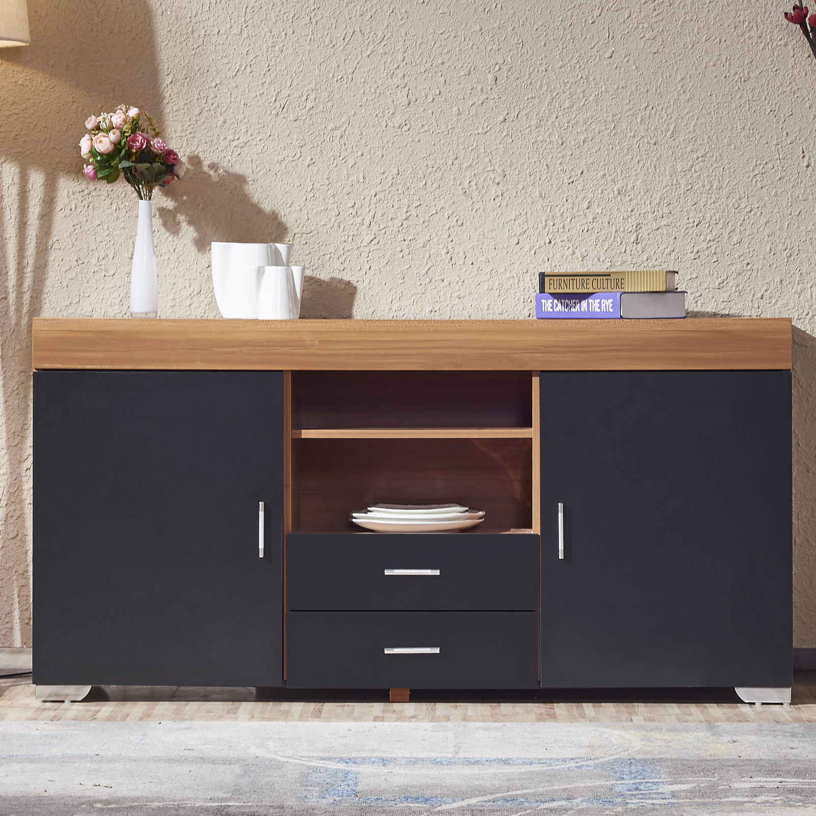 2 Doors 2 Drawers TV Stand Sideboard Cupboard TV Cabinet Unit Walnut Black   -> Walnut Tv Sideboard