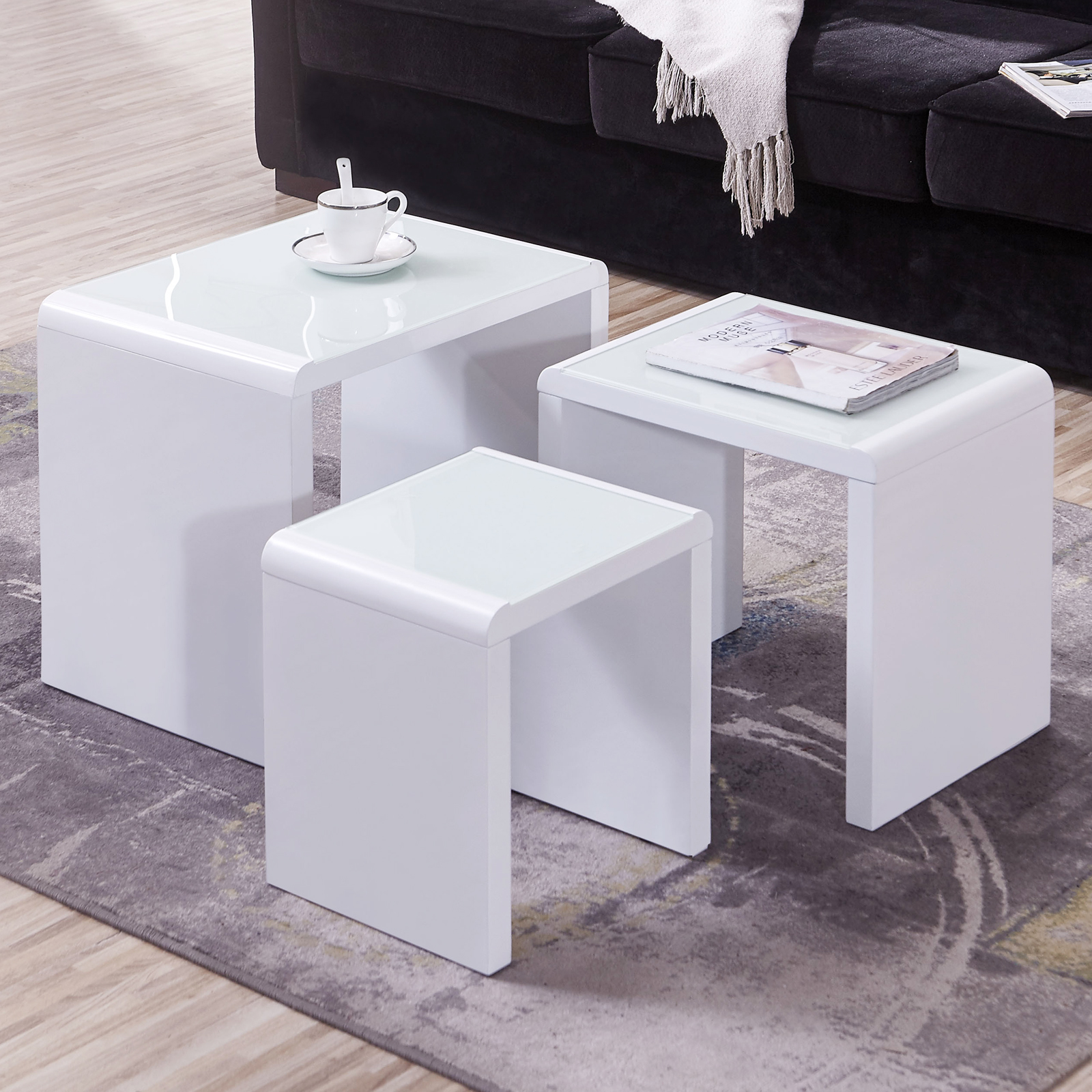 BN Design High Gloss Nest Of 3 Side Nested Coffee Table