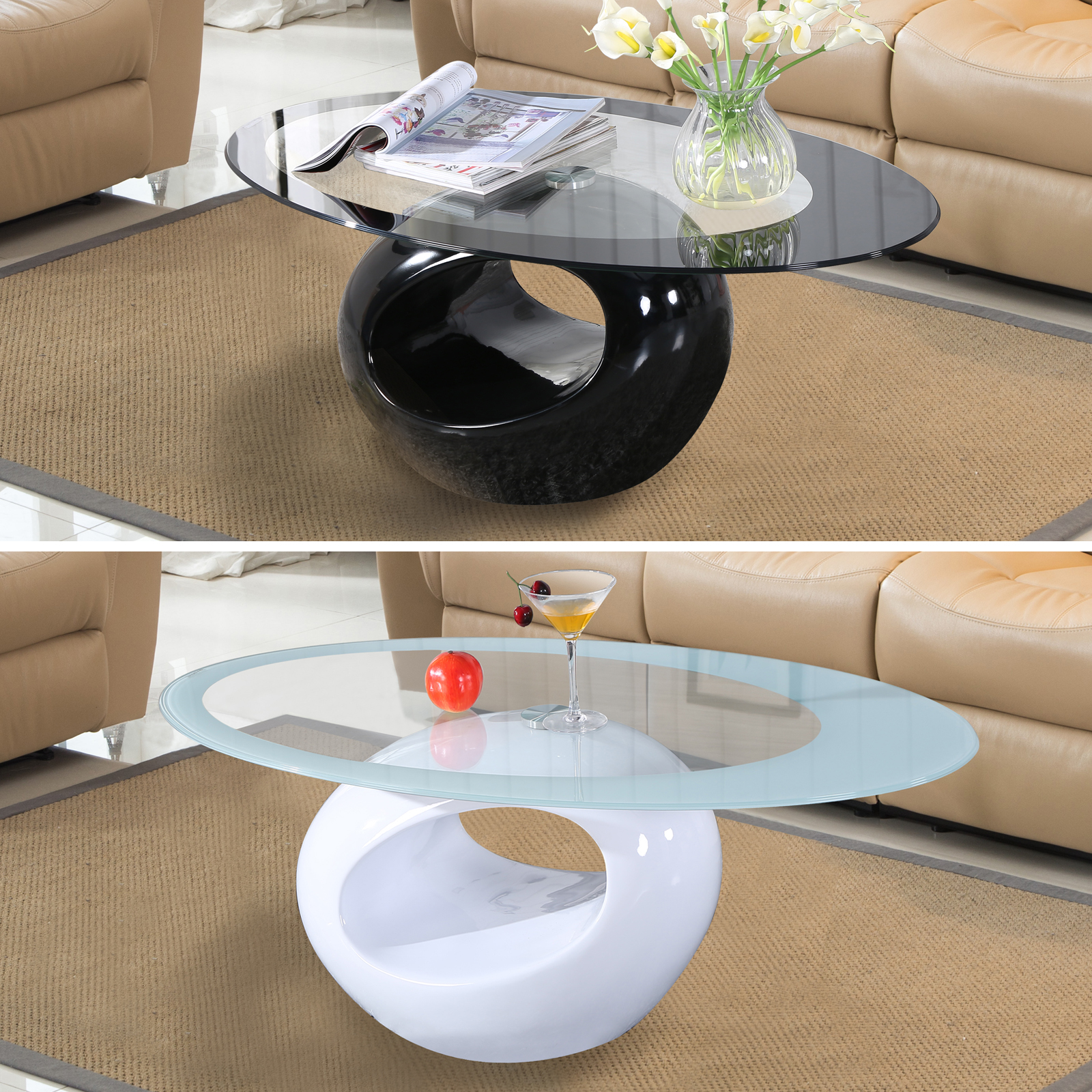 Black White Glass Oval Coffee Table Contemporary Modern Design Living