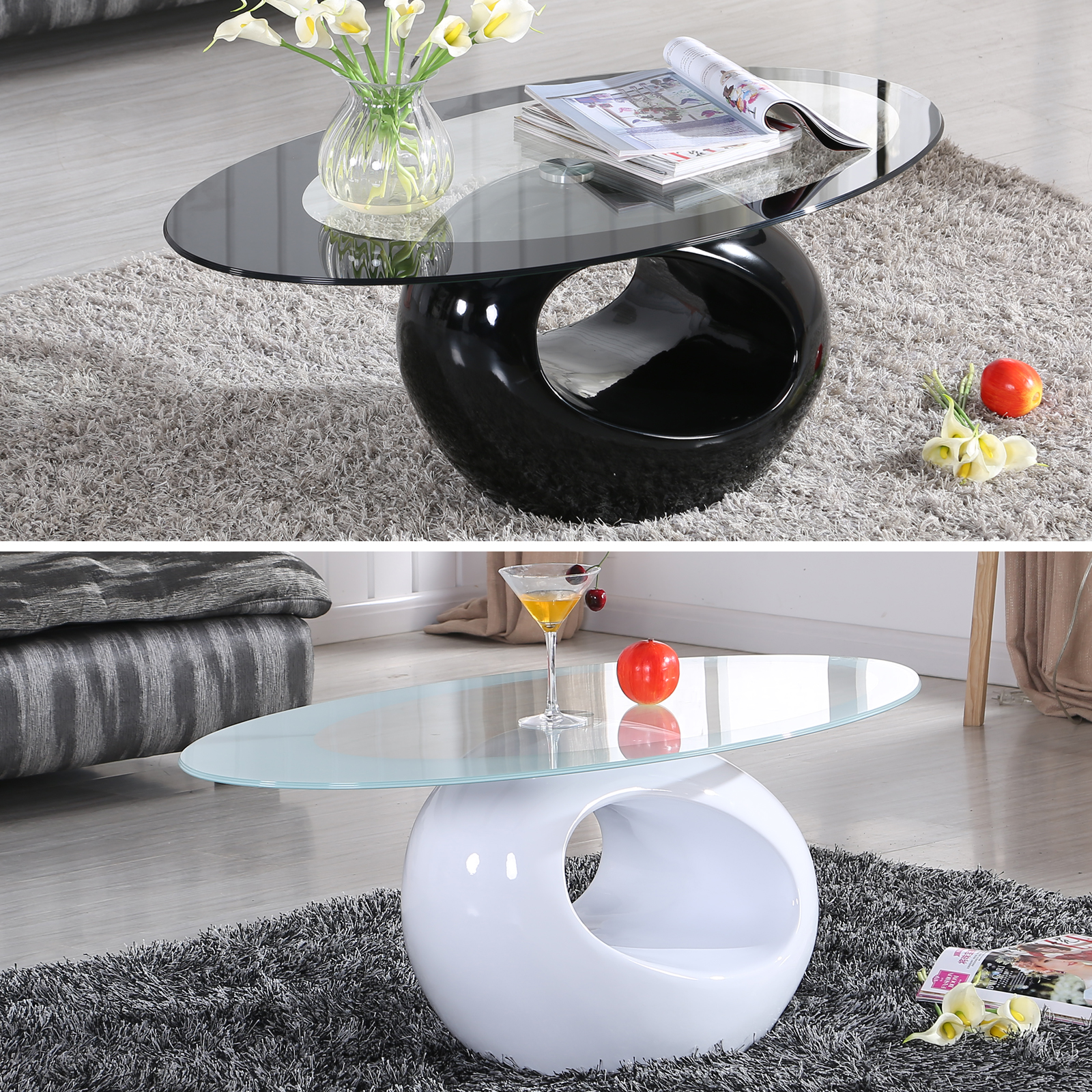 Black White Glass Oval Coffee Table Contemporary Modern