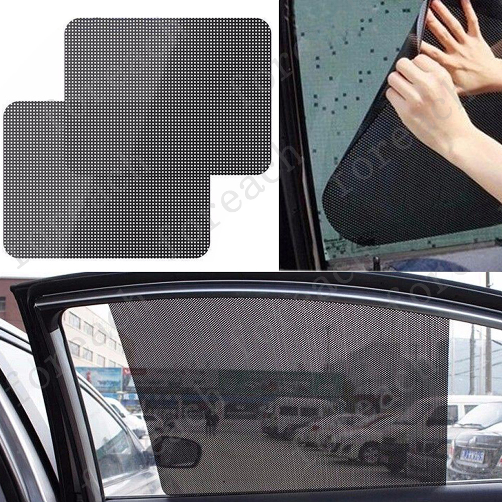 2 pcs car window side sun shade cover block static cling visor screen black ebay. Black Bedroom Furniture Sets. Home Design Ideas