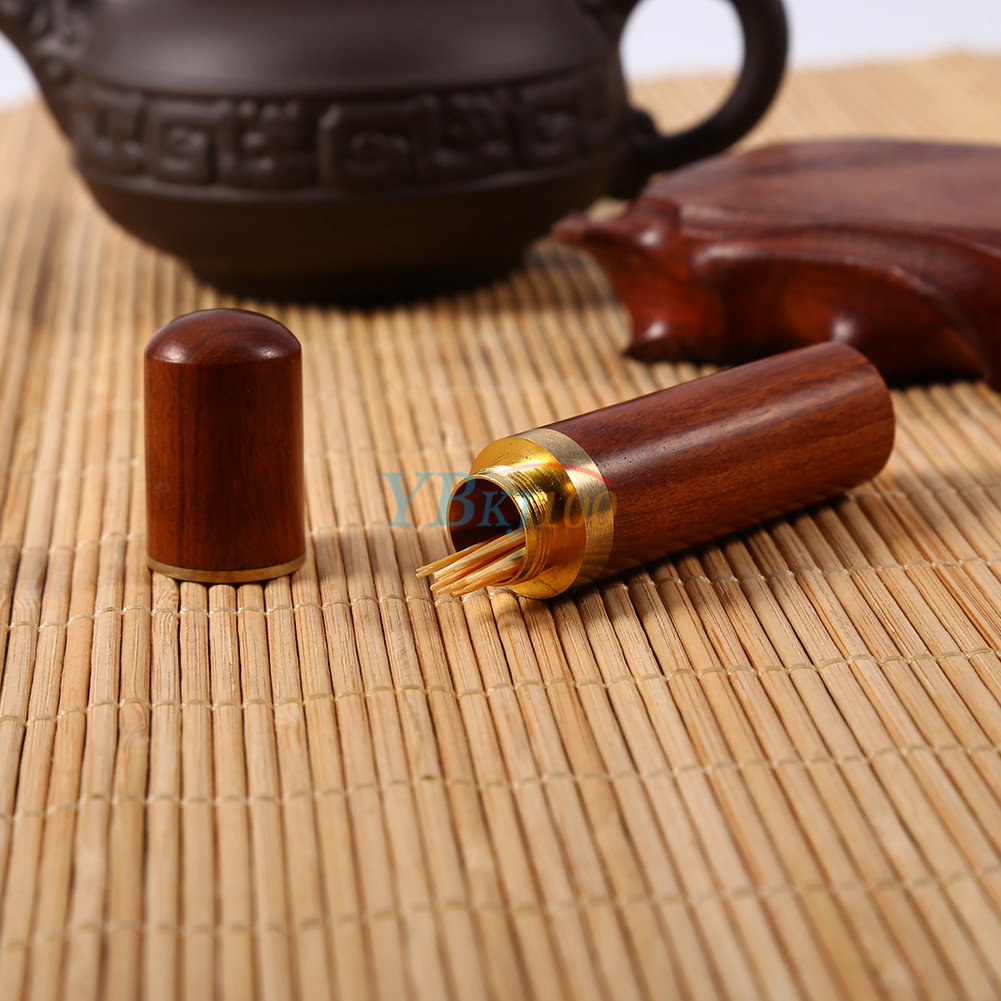 Portable rosewood wooden toothpick holder case capsule box home hiking travel ebay - Portable toothpick holder ...