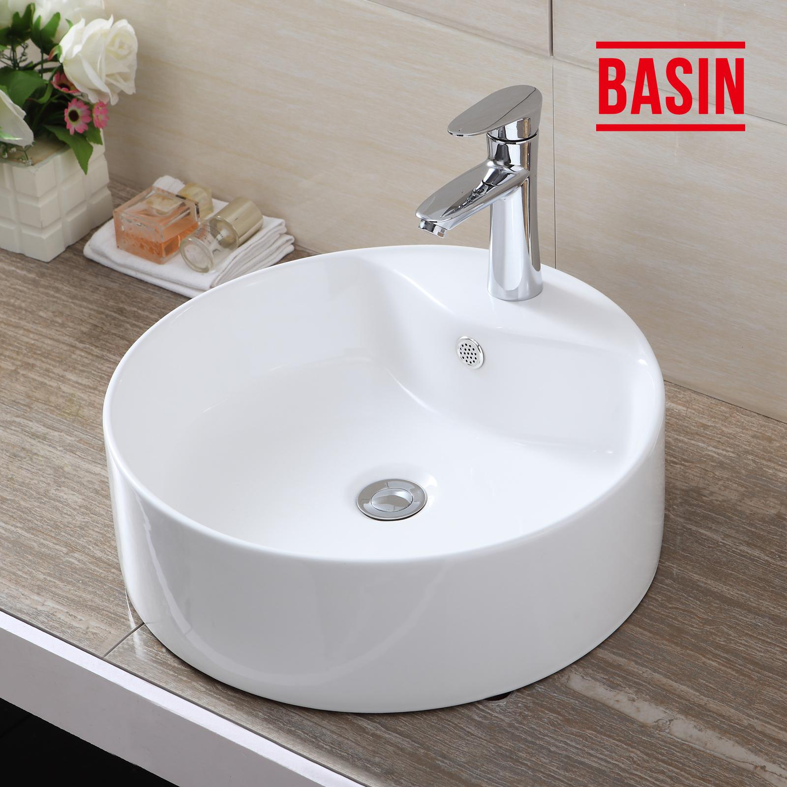 Bathroom cloakroom white round ceramic countertop washing for Wash basin bathroom sink