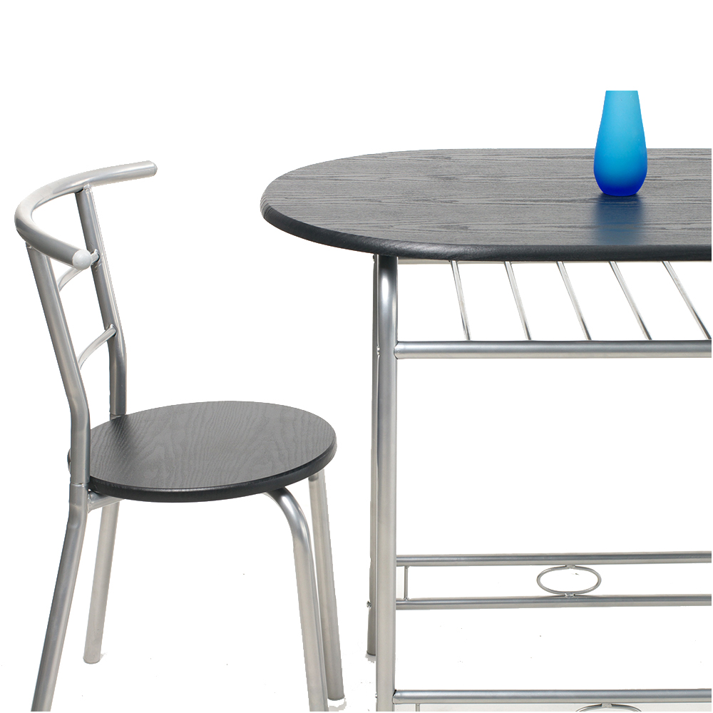 Dining Table And 2 Chairs Set Metal Leg Mdf Seat Kitchen