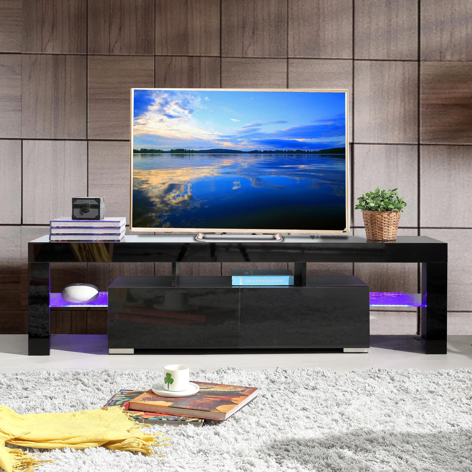 high gloss black tv stand unit cabinet w led shelves 2. Black Bedroom Furniture Sets. Home Design Ideas