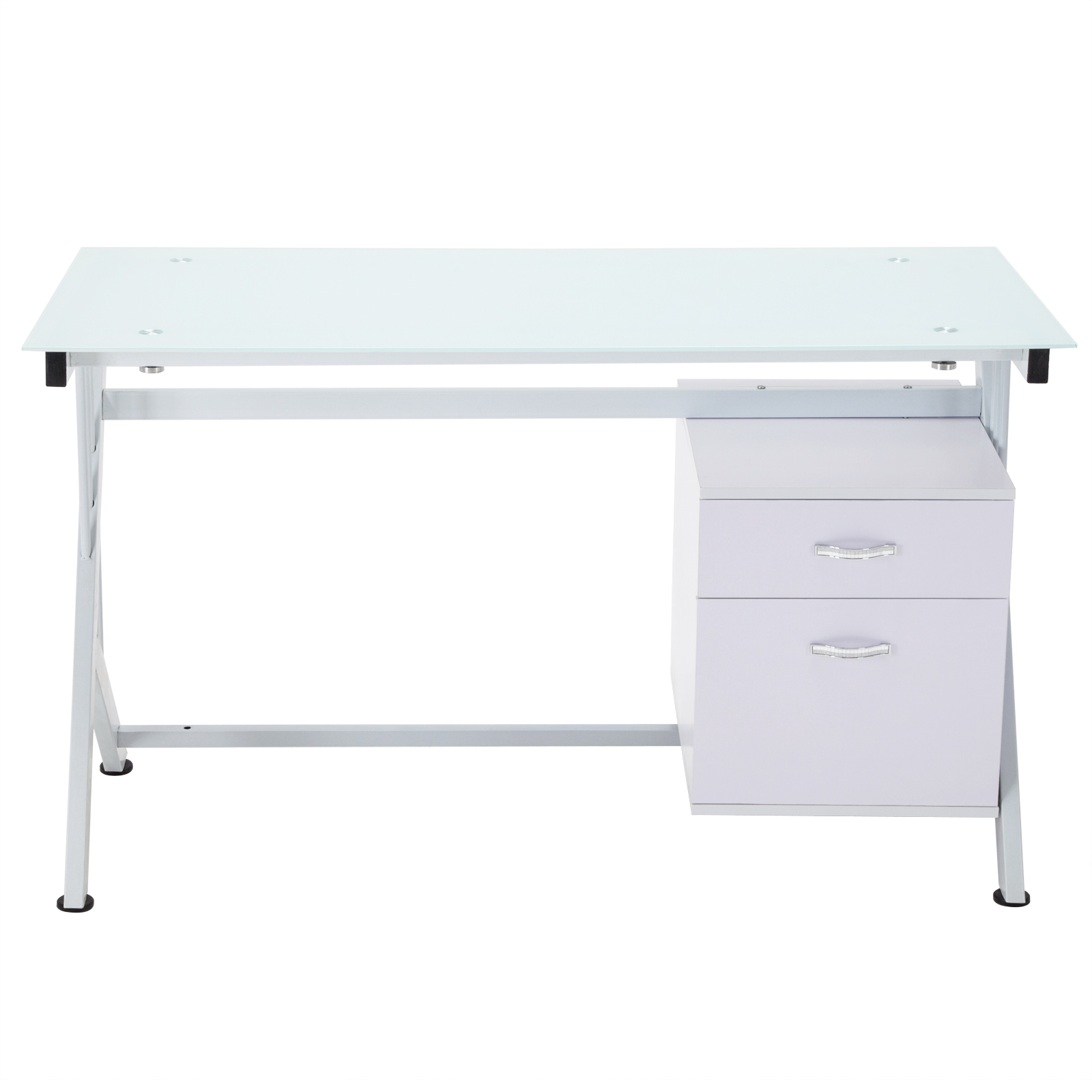 White puter Desk PC Table Glass Top Cupboard Home