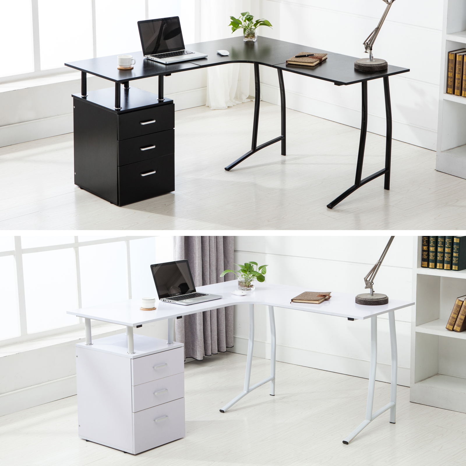 Black Corner Desk With Drawers Furniture Antique Small