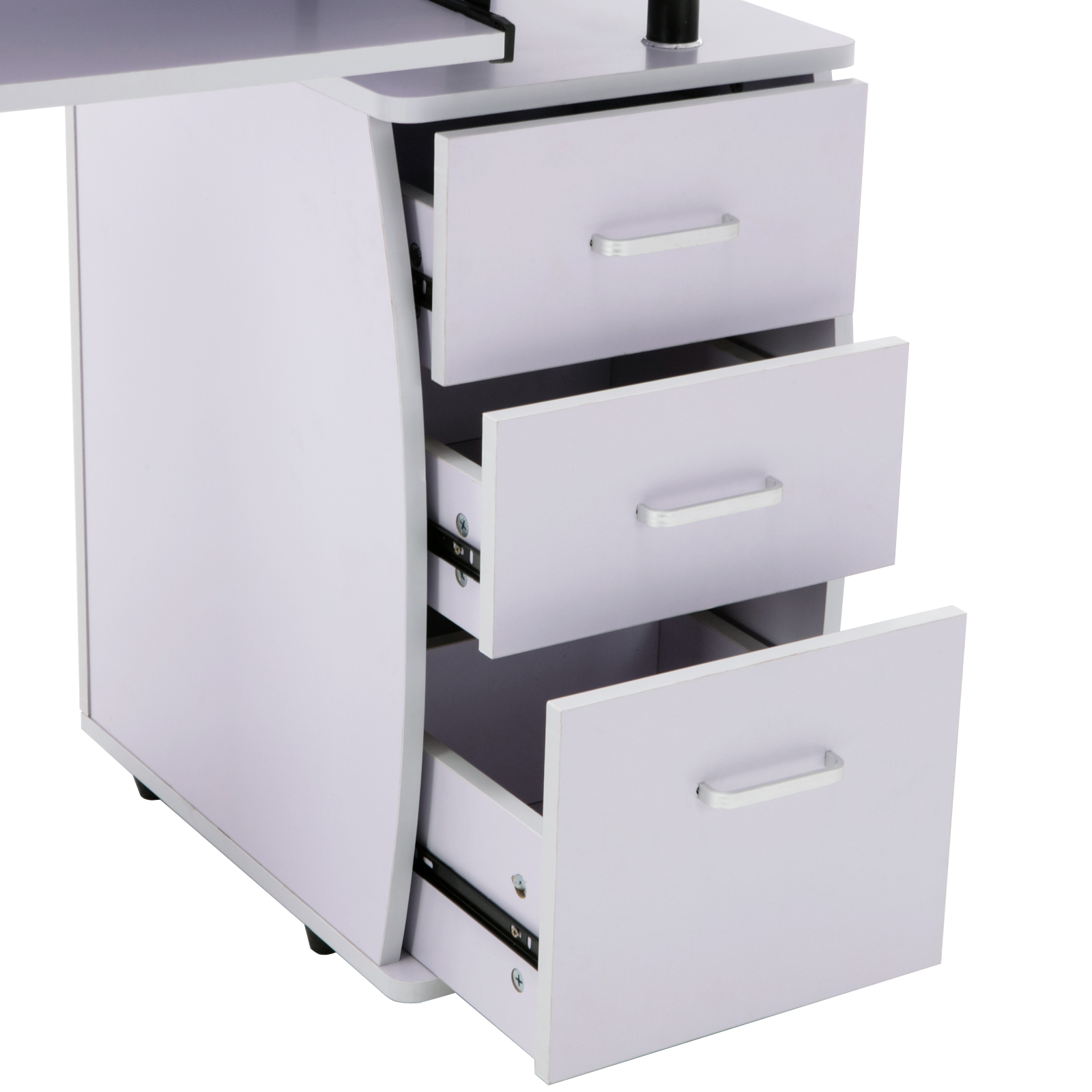 #625B70 Details About White Computer Desk W/3 Drawers Home Office PC Table  with 1600x1600 px of Brand New White Office Desk With Drawers 16001600 pic @ avoidforclosure.info
