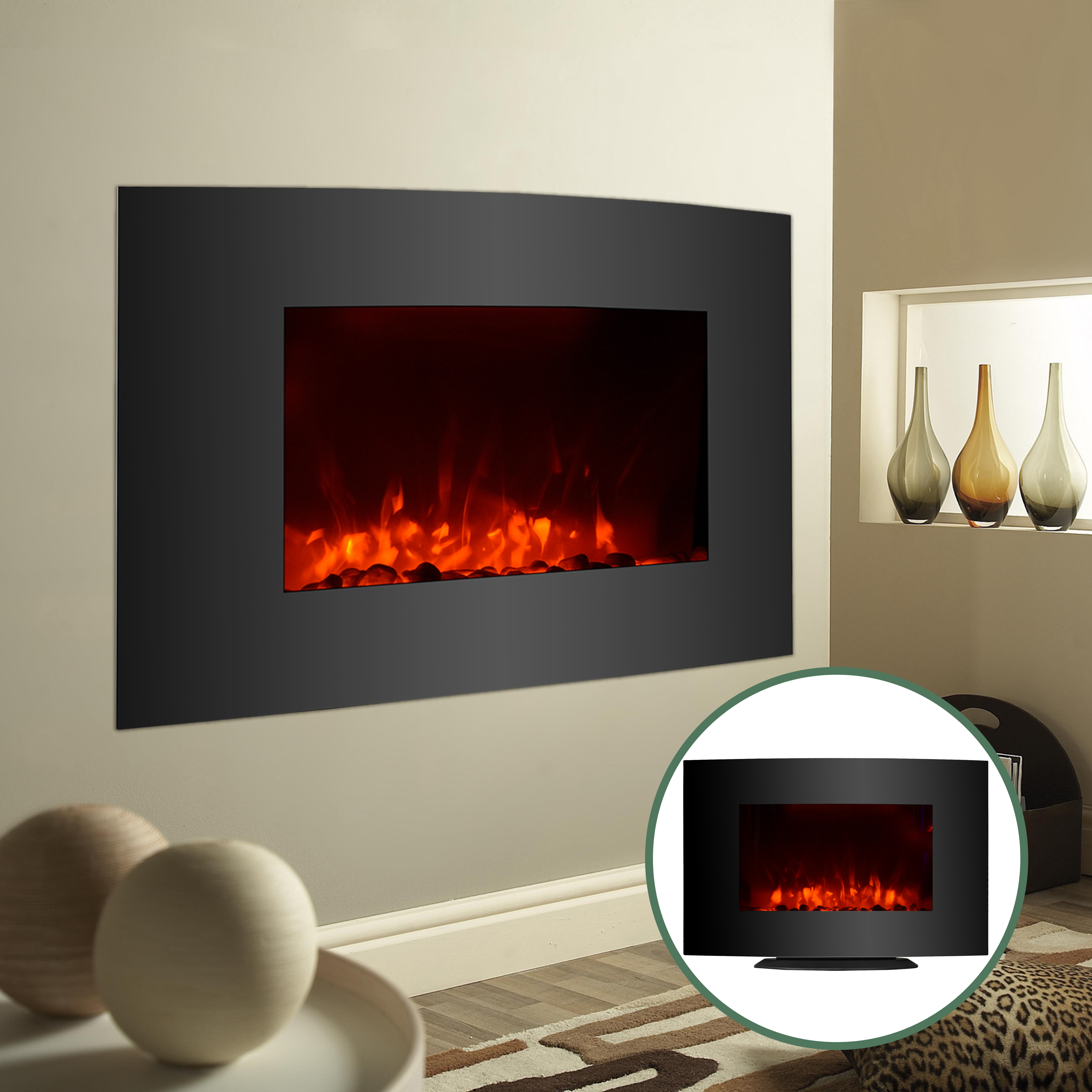 Adjustable Large 1500w Electric Fireplace Heater Wall Mount Standing W Remote Ebay