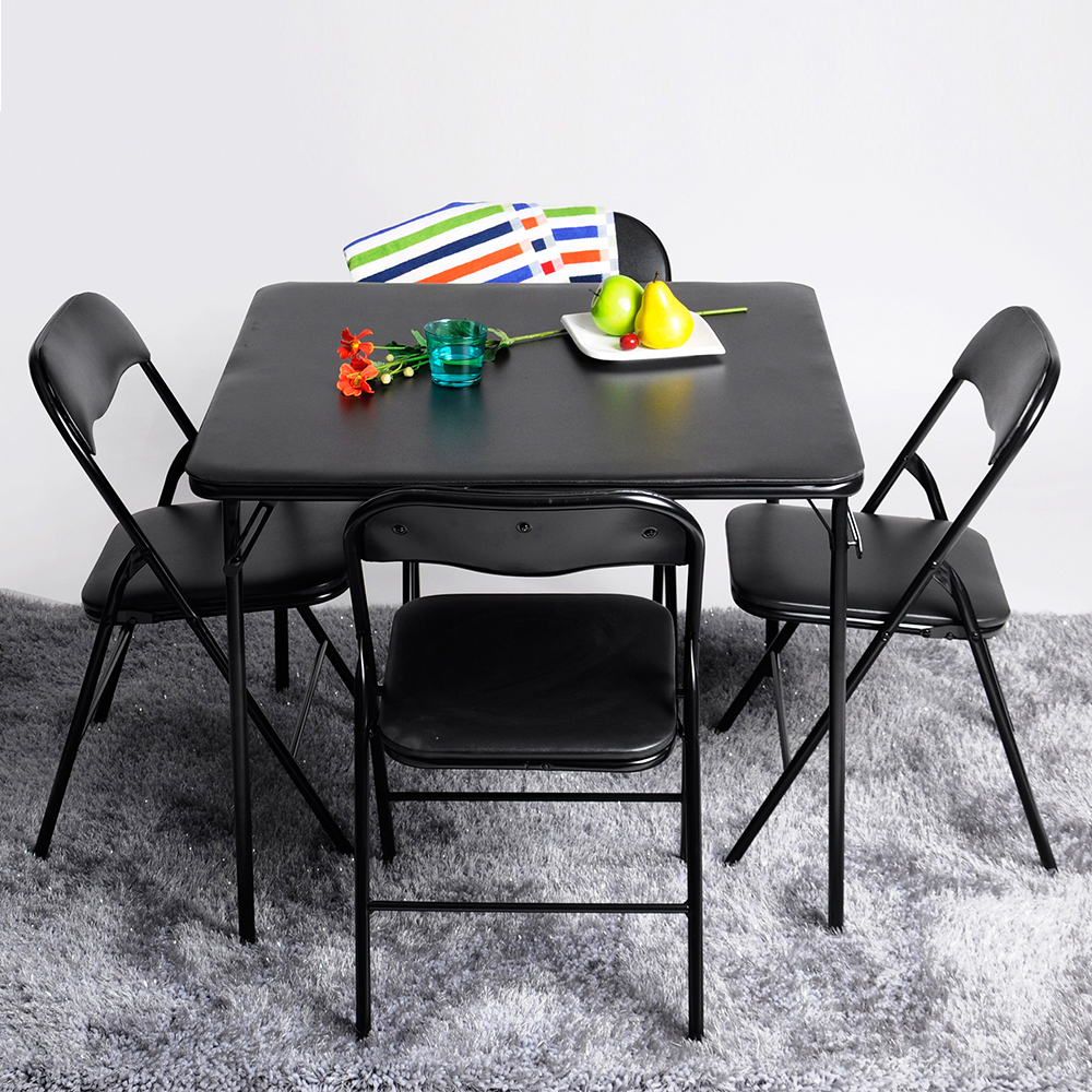 card square dining table and 4 chairs set folding padded cosco party poker game ebay. Black Bedroom Furniture Sets. Home Design Ideas