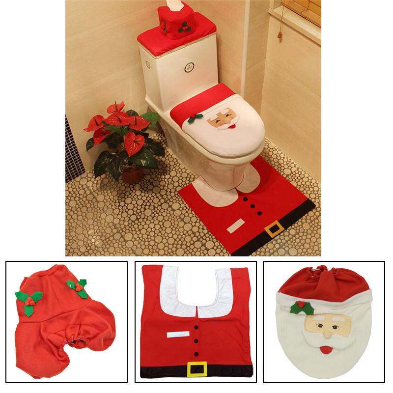 2x set weihnachts teppich tank deckel badezimmer toiletten bezug weihnachtsdeko ebay. Black Bedroom Furniture Sets. Home Design Ideas
