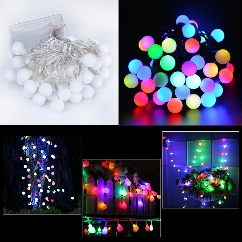 50 leds lichterkette bunt kugeln weihnachten rgb kette party leuchte au en innen ebay. Black Bedroom Furniture Sets. Home Design Ideas