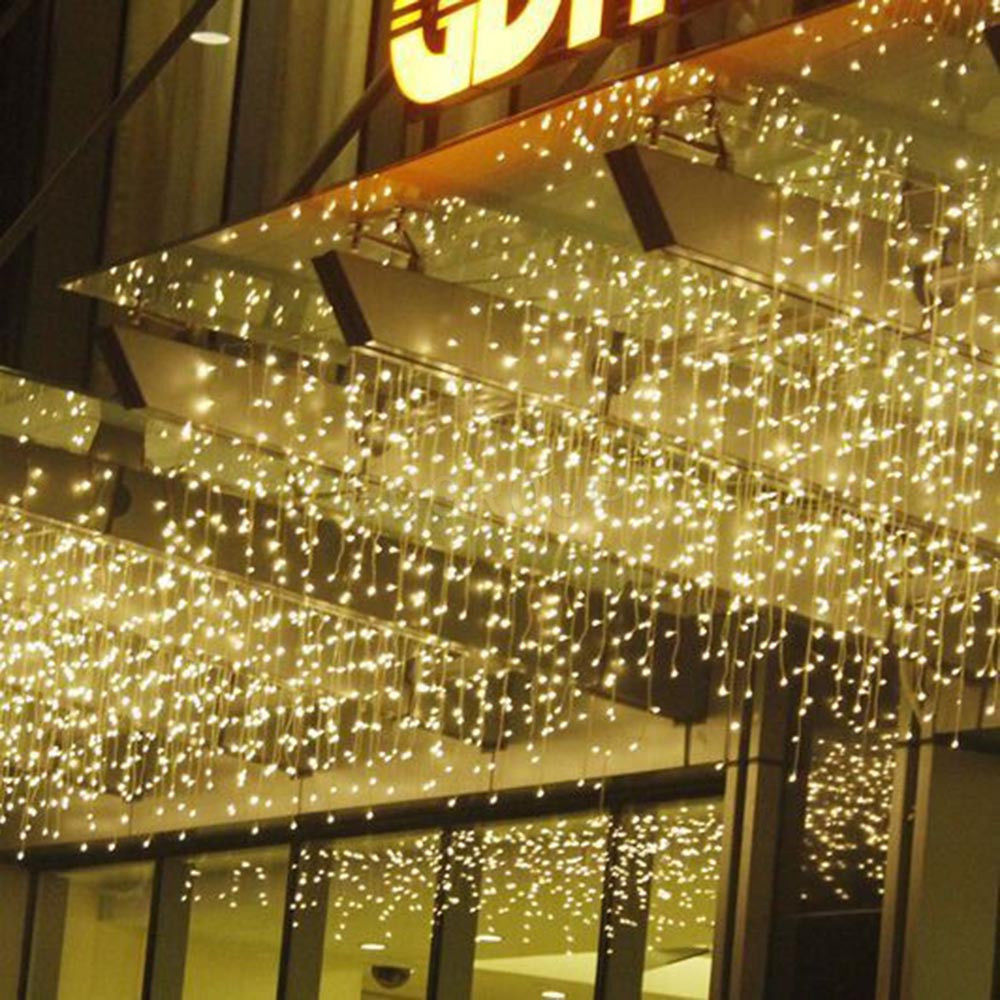 Outdoor Hanging String Lights Led: Hanging Icicle Curtain Lights 304 LED Outdoor Fairy Xmas
