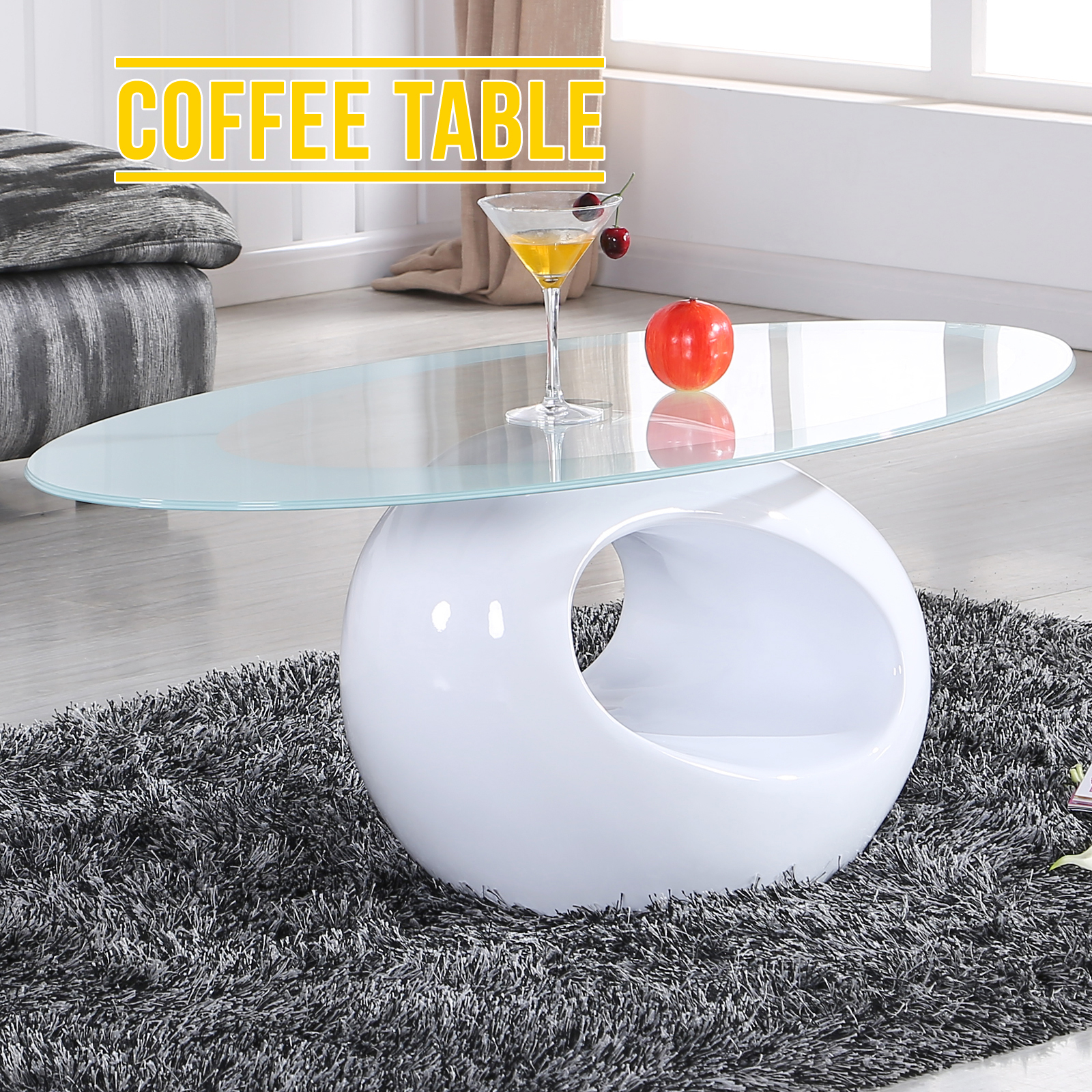 Oval White Glass Coffee Table Contemporary Modern Design Ebay