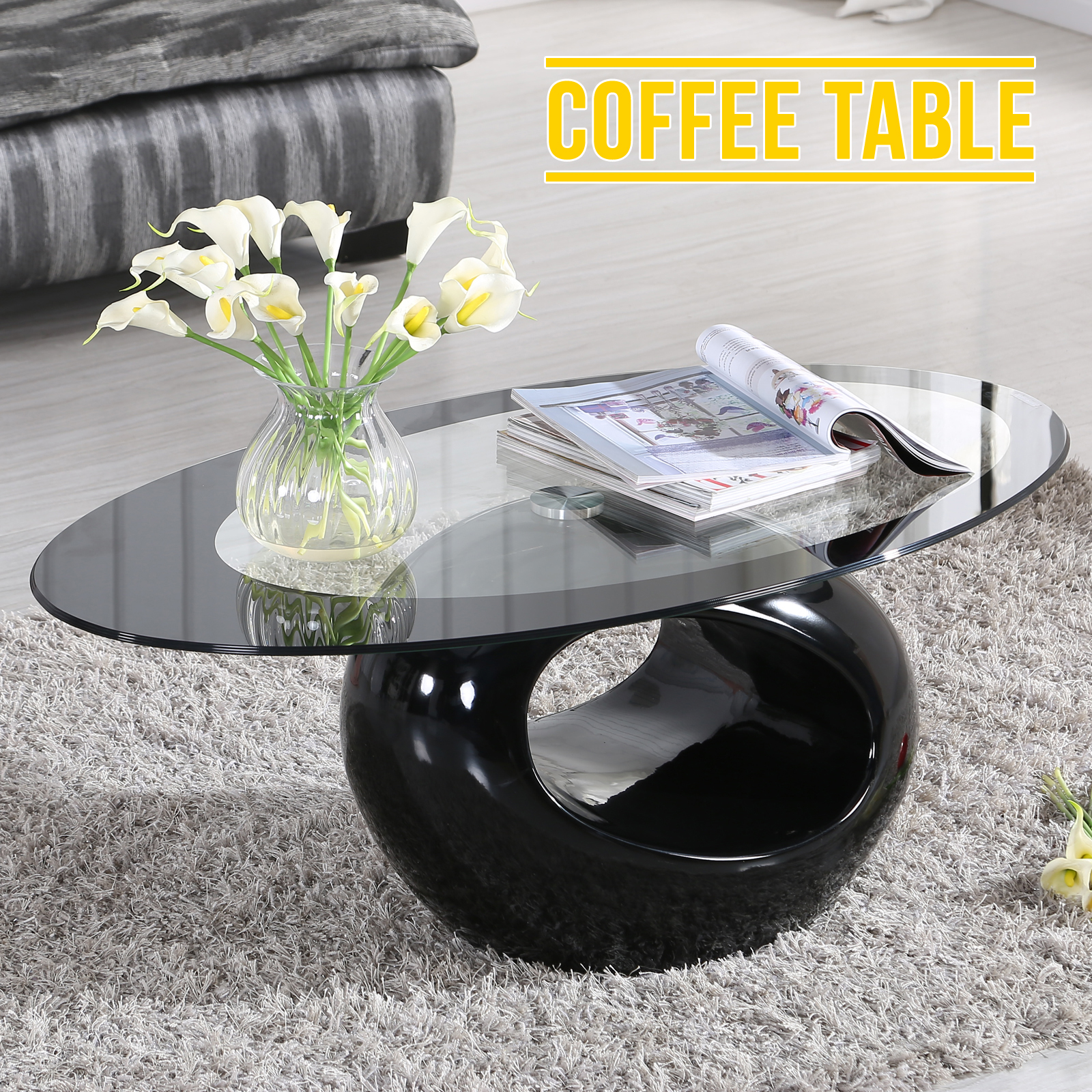 Oval Black Glass Coffee Table Contemporary Modern Design Ebay
