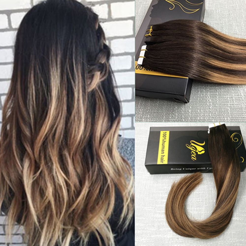 ombre ash brown to bleach blonde remy human hair seamless tape in hair extension ebay. Black Bedroom Furniture Sets. Home Design Ideas