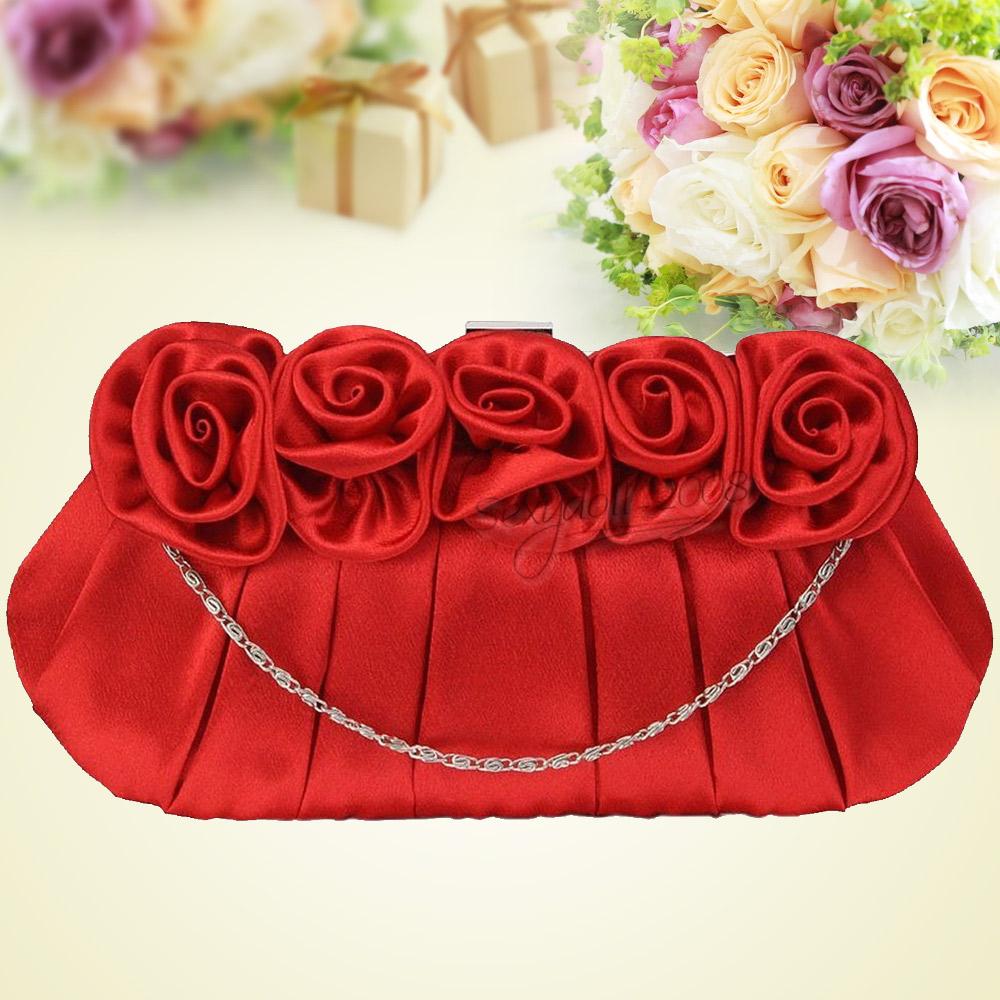 Details about  /UK Wedding Bridal Flower Satin Clutch Long Chain Evening Party Purse Handbag Bag