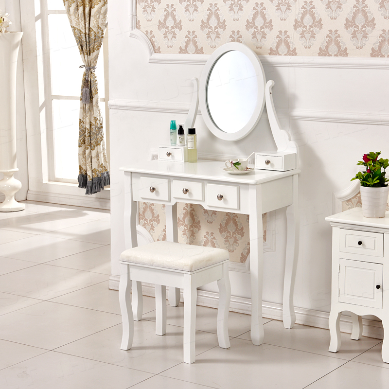 table vanity makeup desk with stool drawers oval mirror bedroom ebay