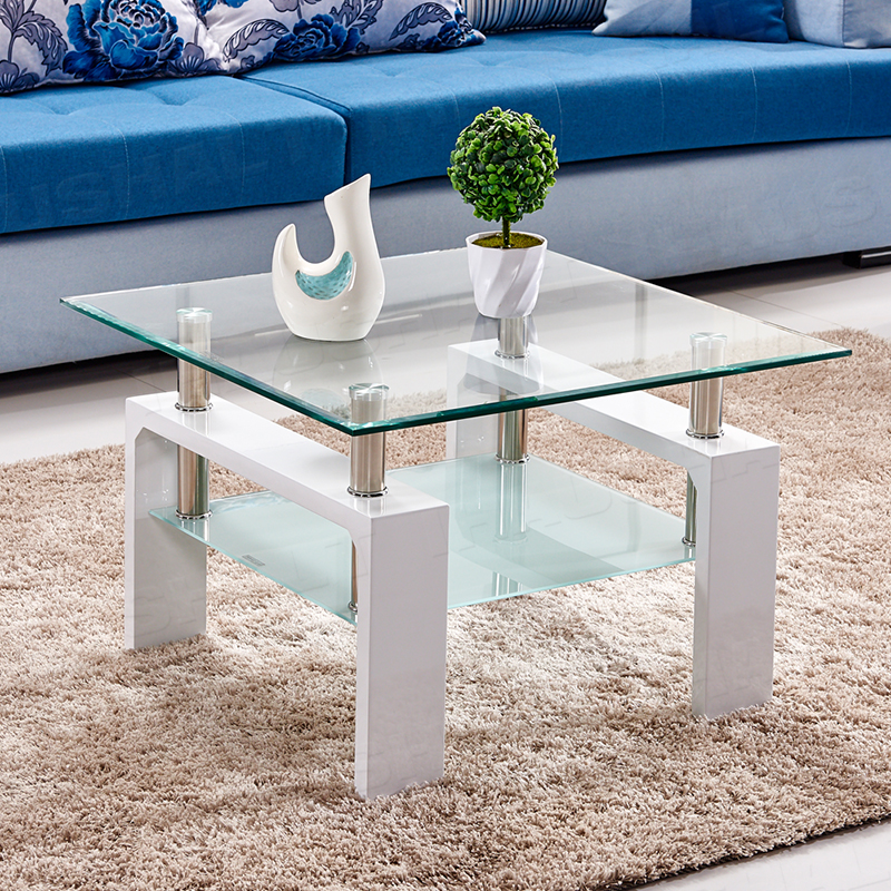 White High Gloss Side End Square 2 Seats Of Coffee Table: Tempered Glass/Wood Coffee Table Side End Corner Small