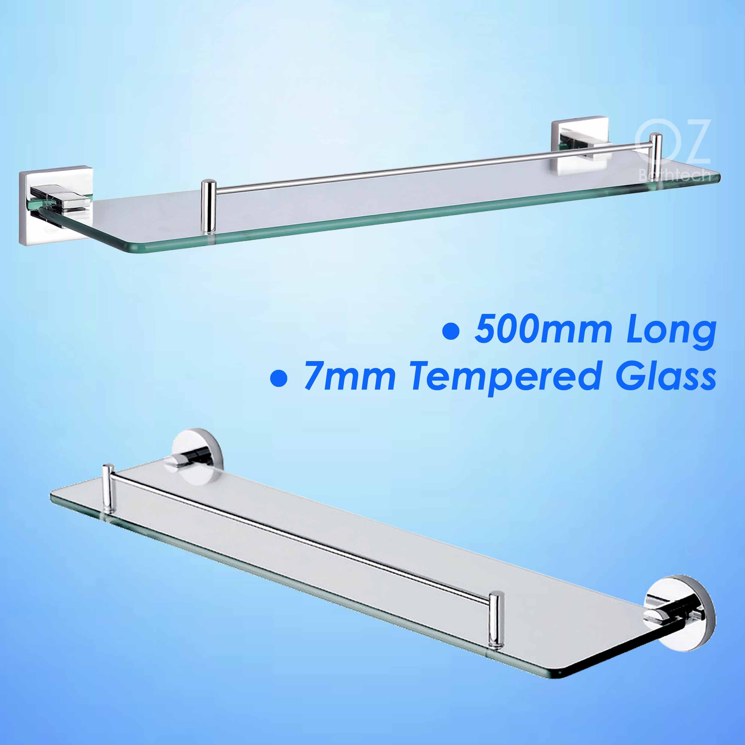 Wall Mounted Grow Lights : Bathroom Wall Mounted 500mm Shower Vanity Single Glass Shelf Storage Holder eBay